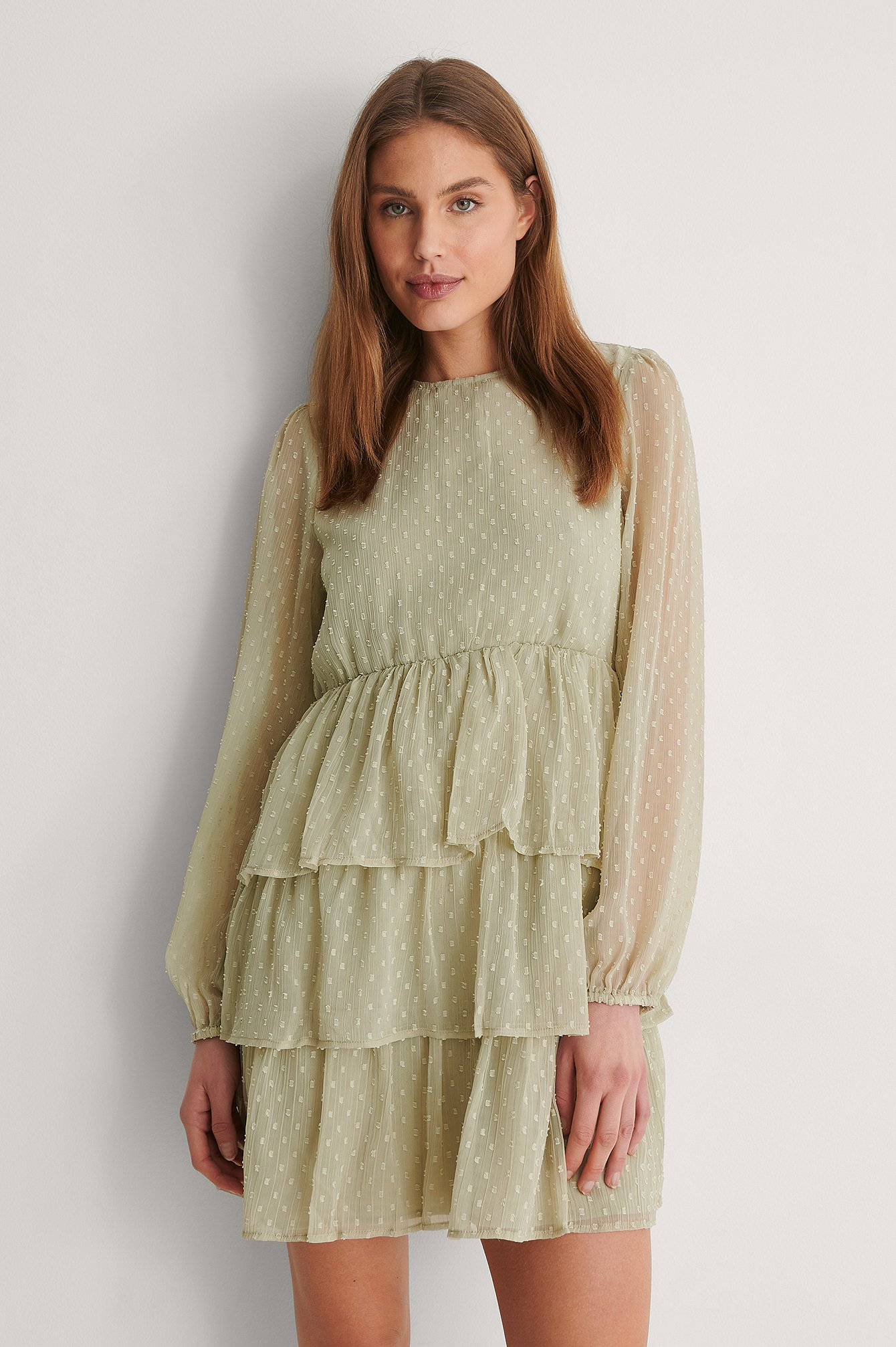 Dusty Green Flounce Dobby Mini Dress