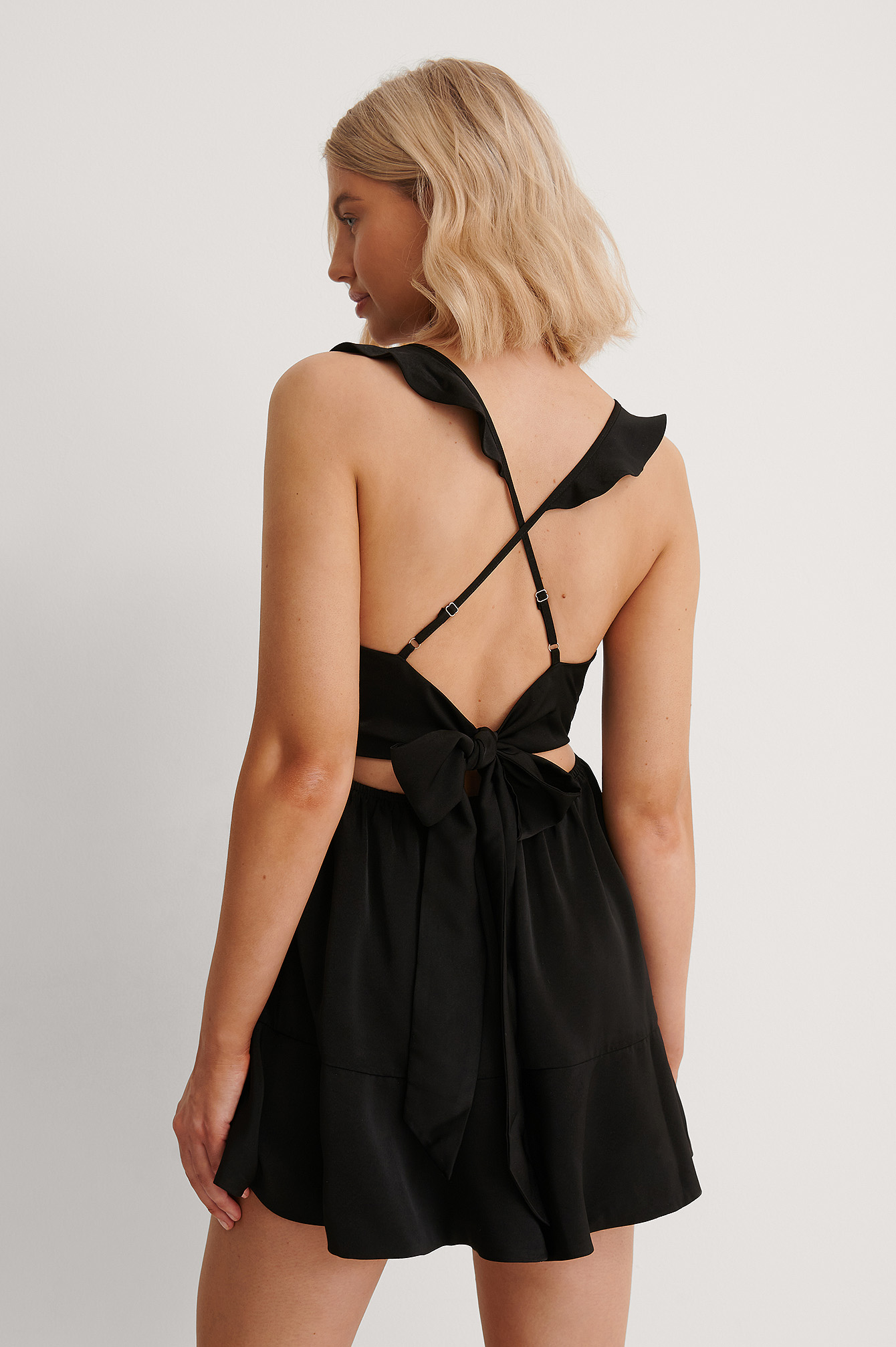 Black Back Tie Flounce Detail Playsuit