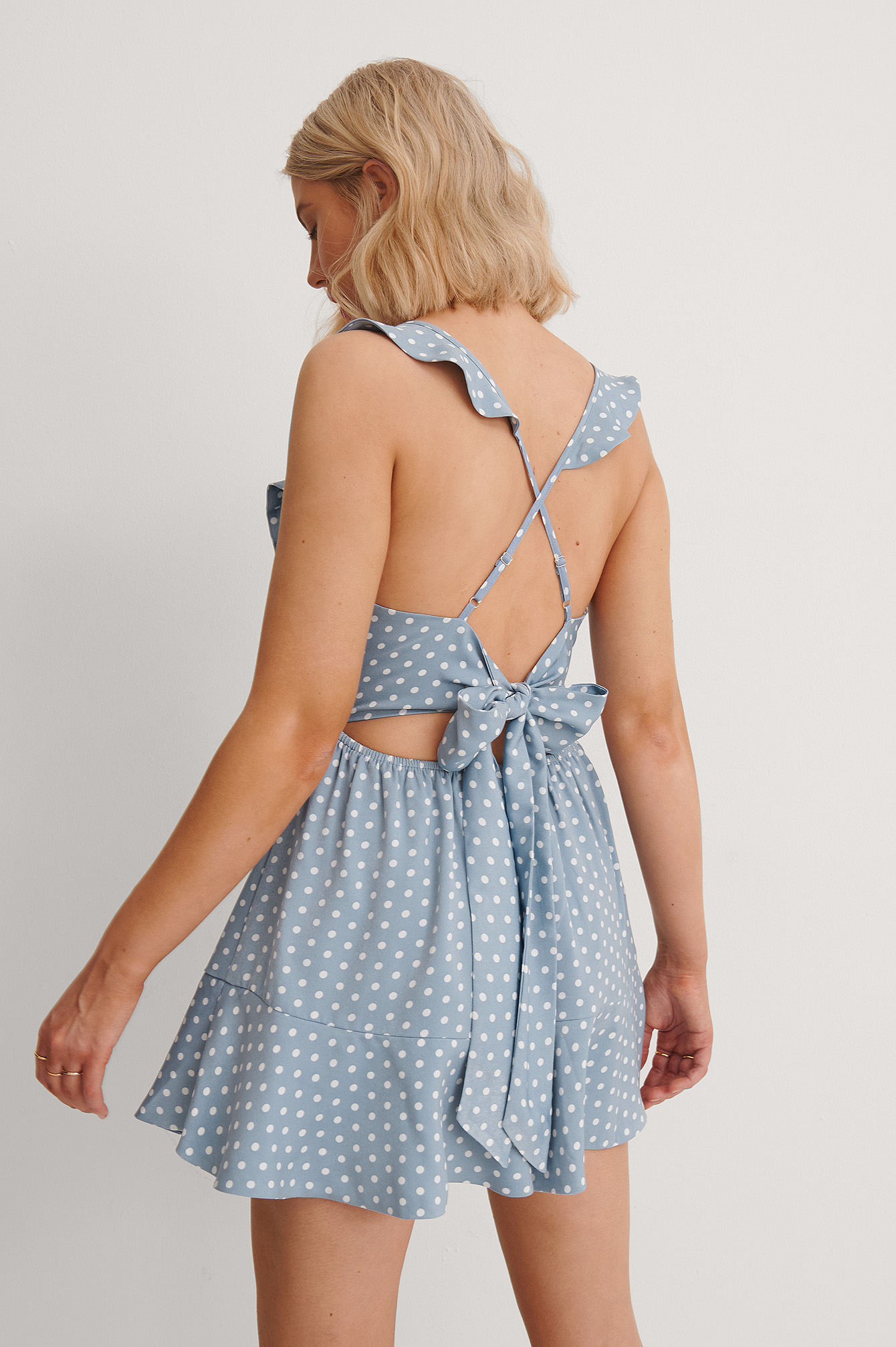 Blue Dots Back Tie Flounce Detail Playsuit