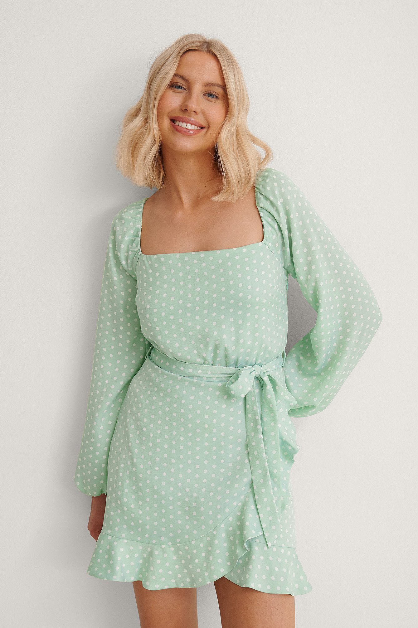 Dots Balloon Sleeve Flounce Overlap Detail Dress