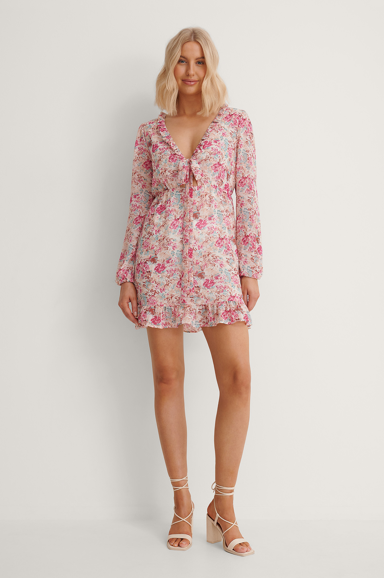 Pink Flower Front Tie Flounce Detail Dress