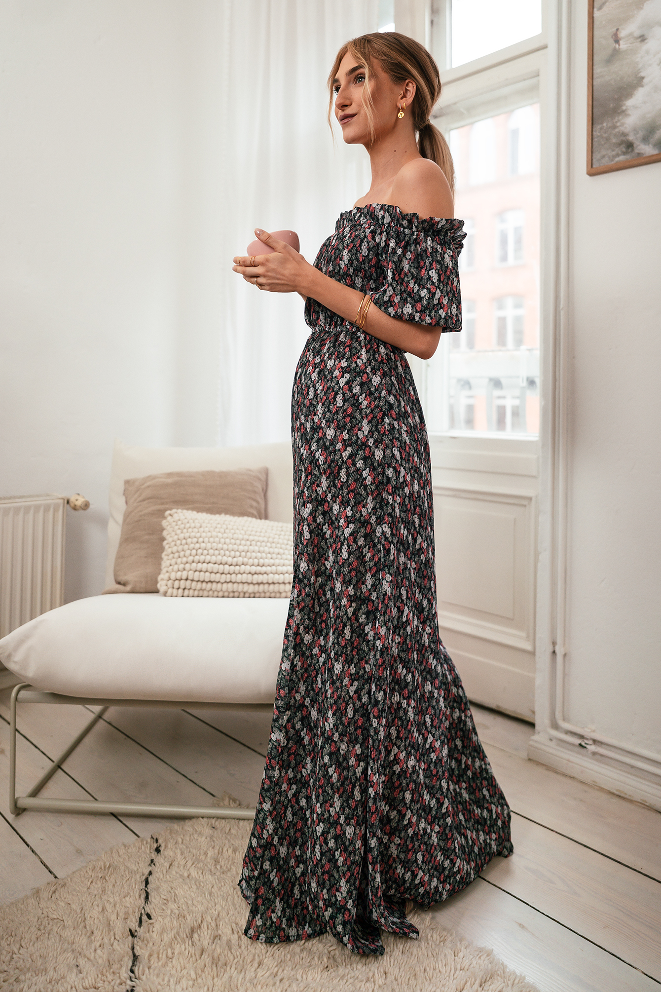 Black Flower Print Off Shoulder Flounce Detail Maxi Dress
