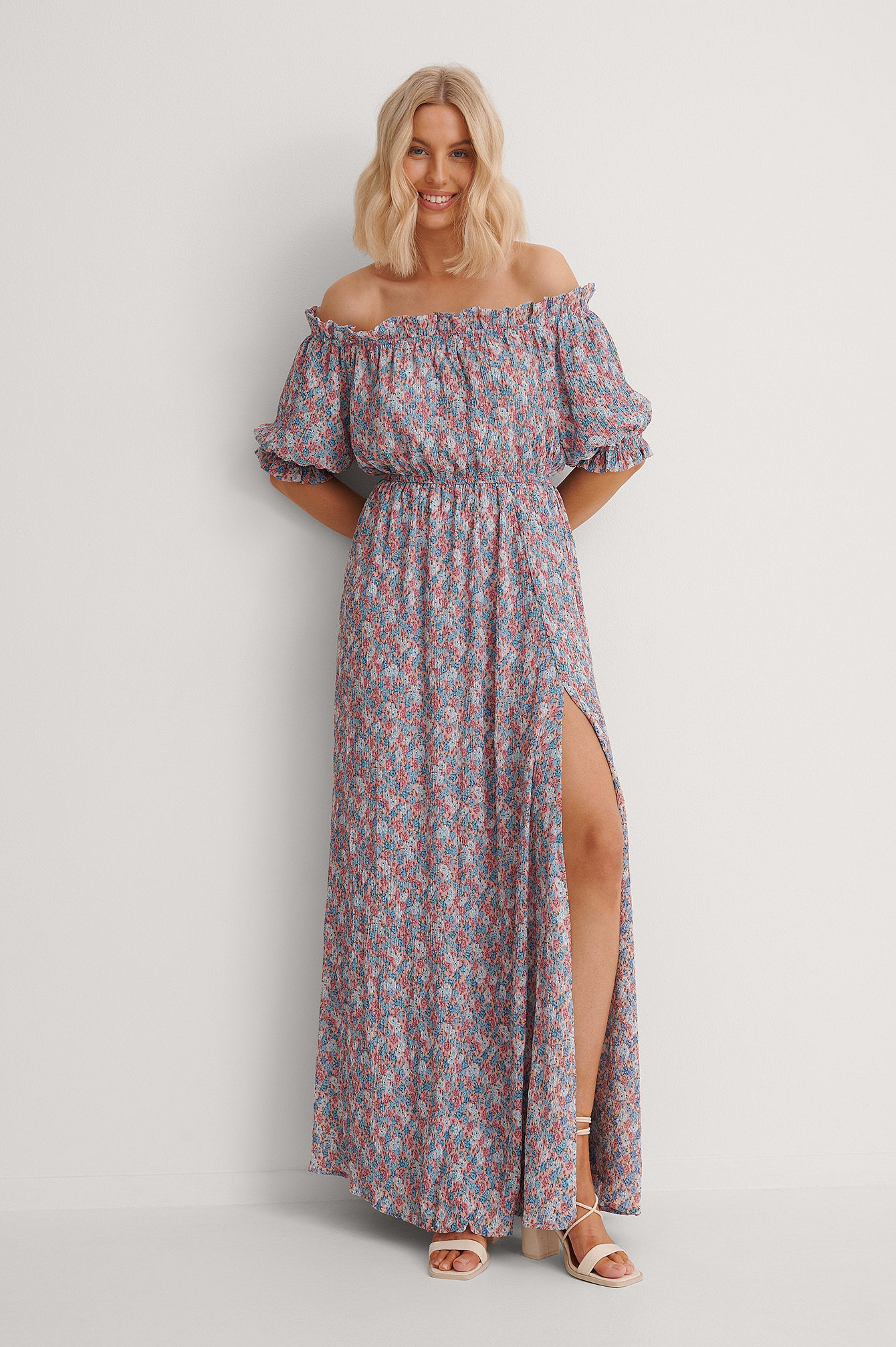 Blue Flower Print Off Shoulder Flounce Detail Maxi Dress