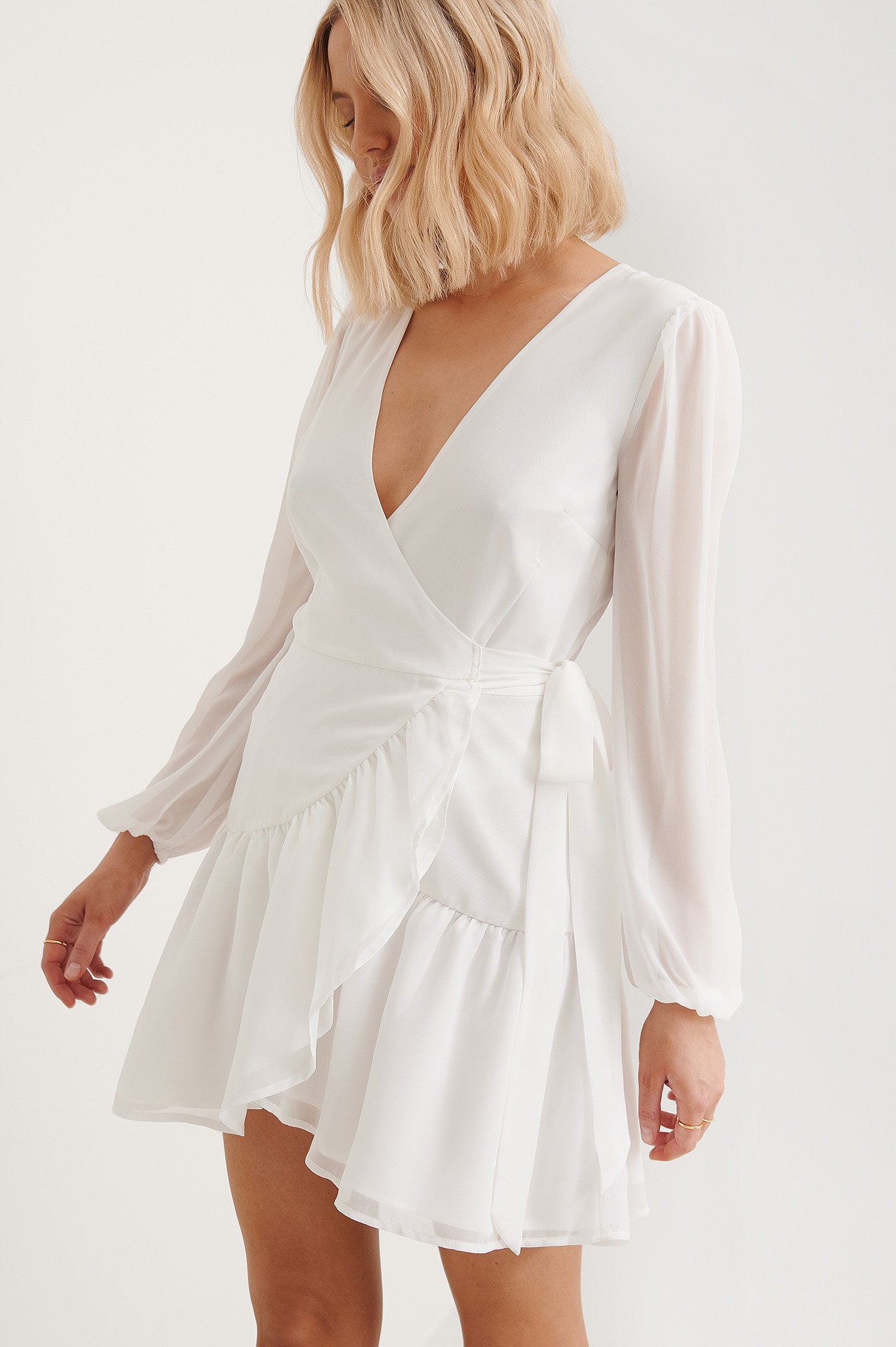 White Recycled Overlap V-Neck Flounce Dress