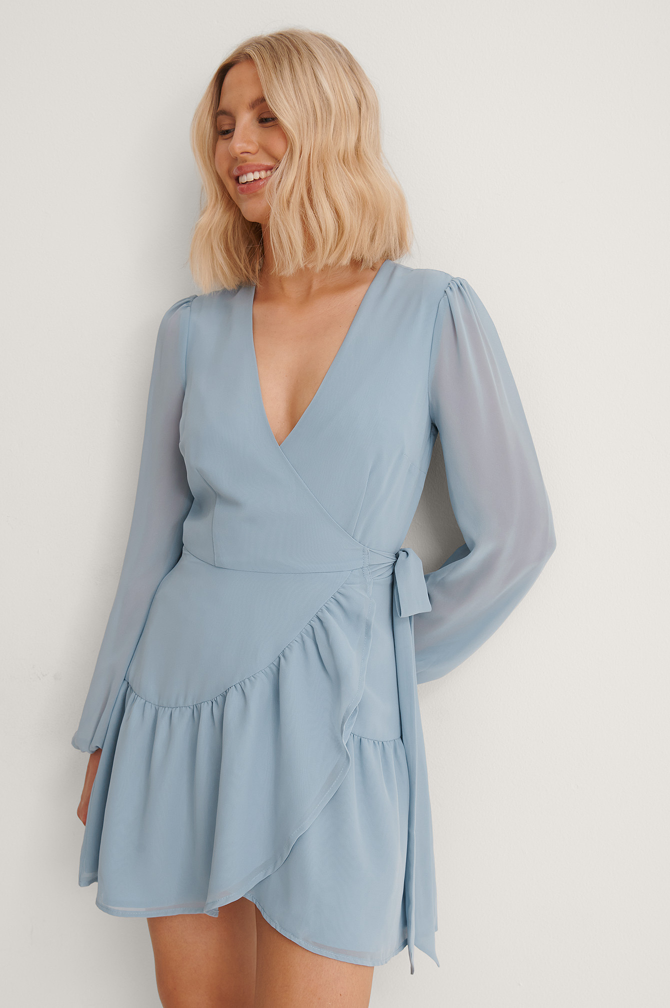Blue Recycled Overlap V-Neck Flounce Dress
