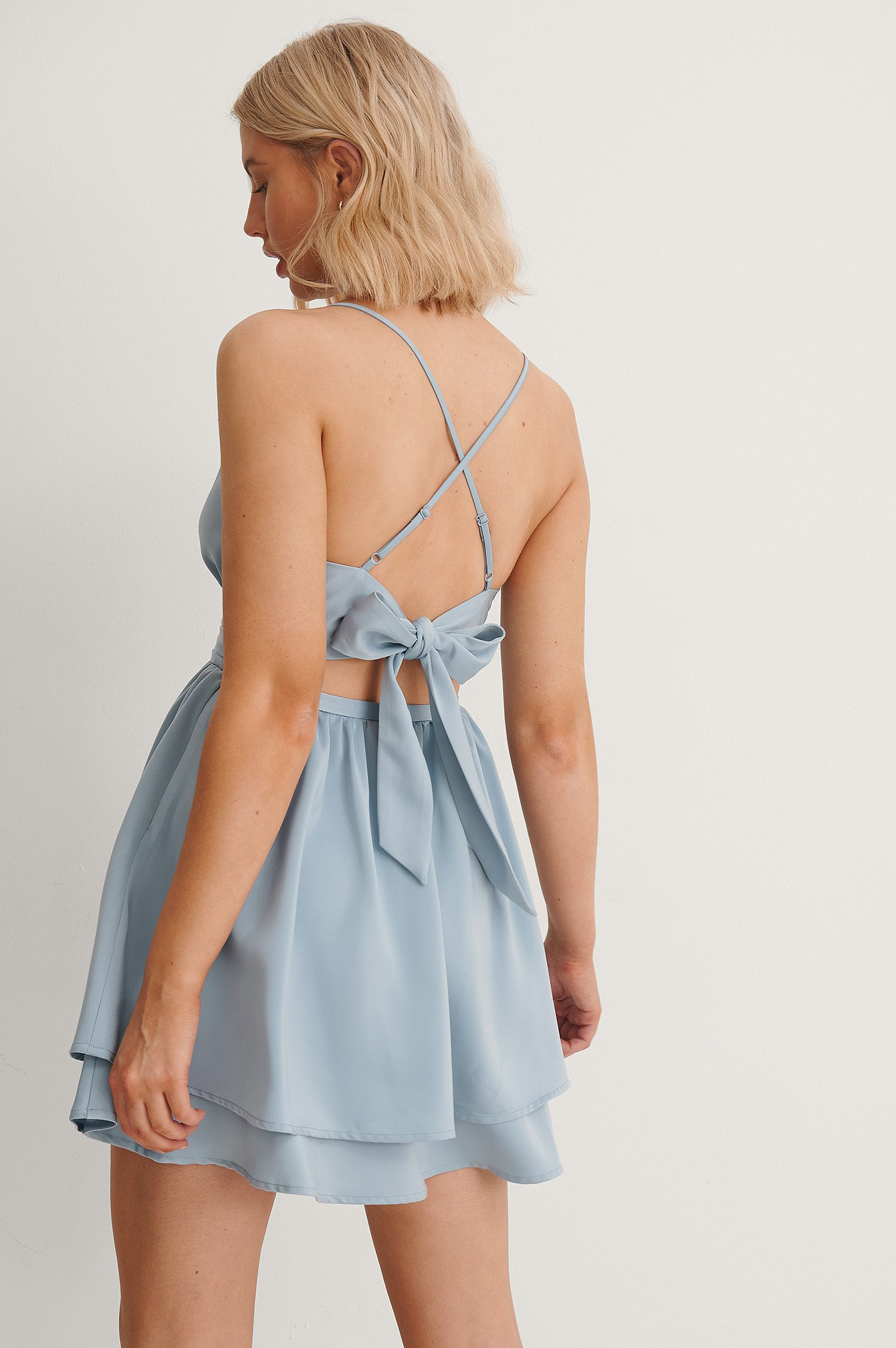 Blue Tied Back Mini Dress