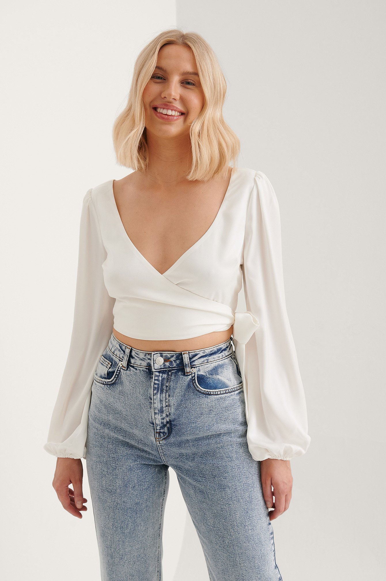 White Wrap Around Balloon Sleeve Top