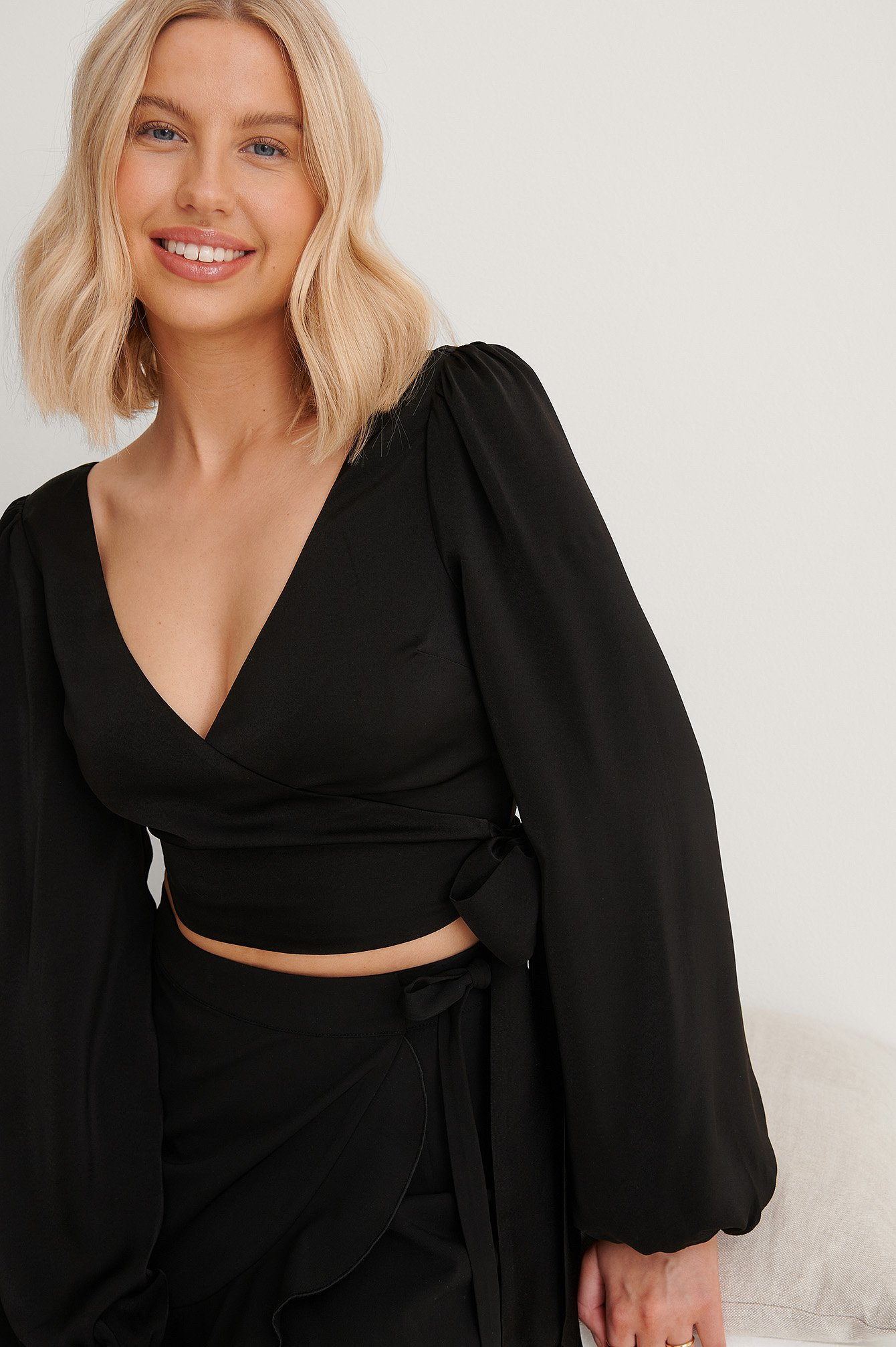 Black Wrap Around Balloon Sleeve Top