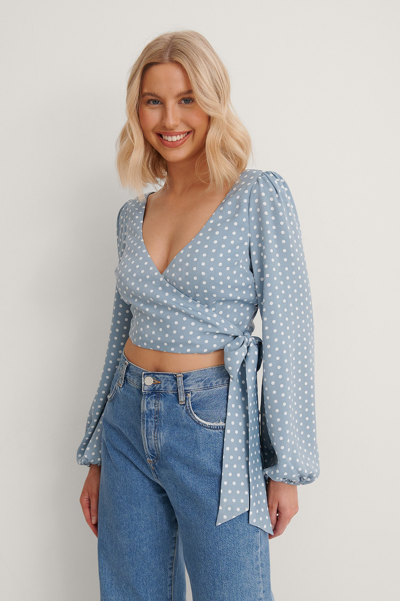 Blue Dots Wrap Around Balloon Sleeve Top