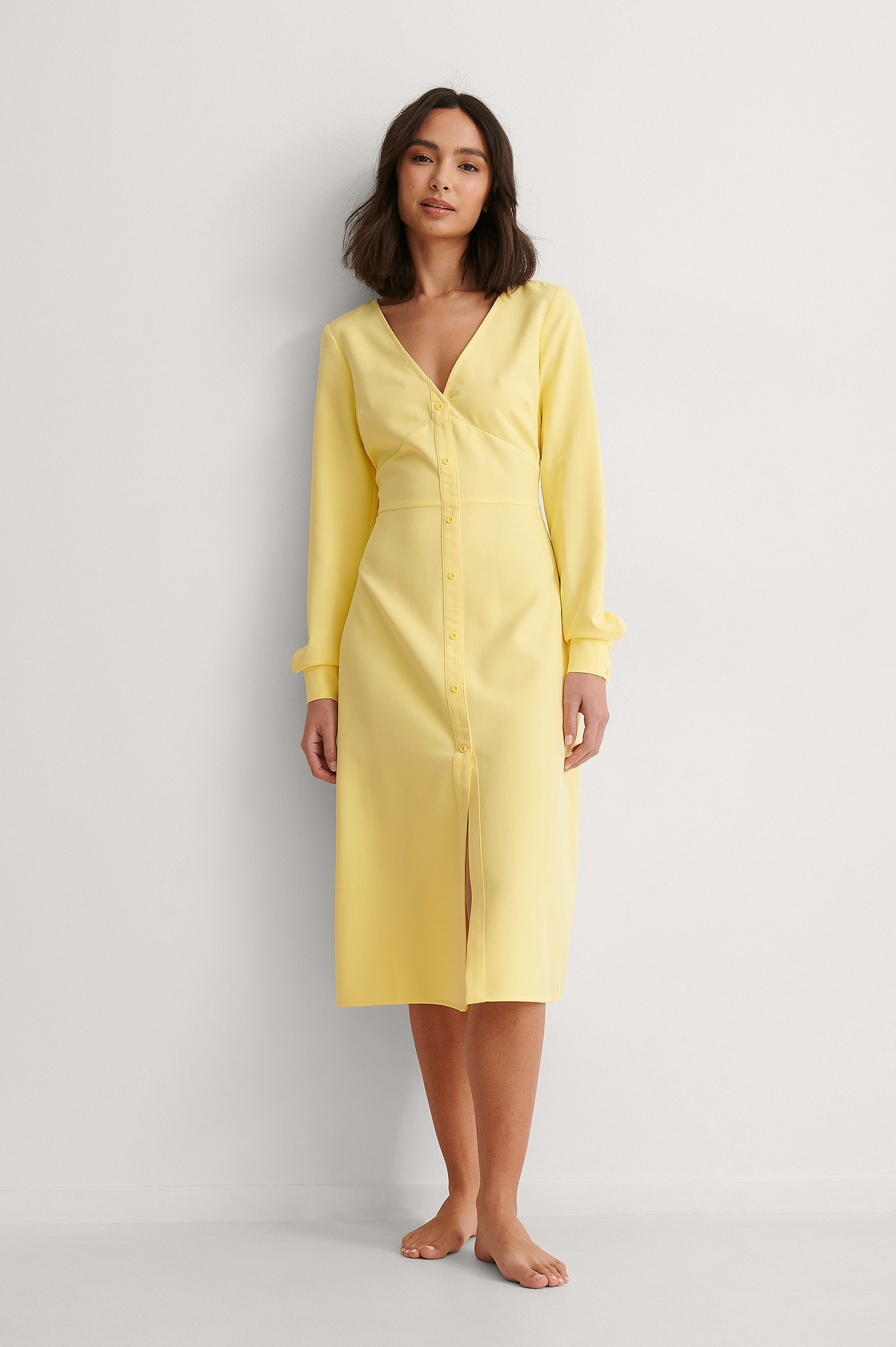 Yellow Waist Detail Midi Dress