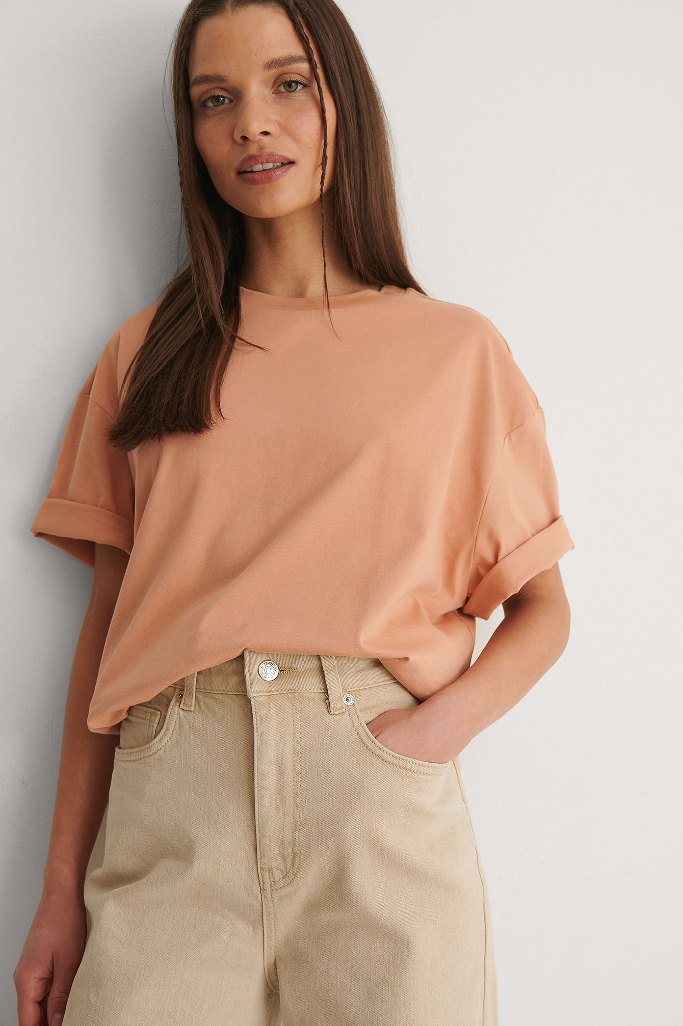 Dusty Orange Boxy Oversized Tee