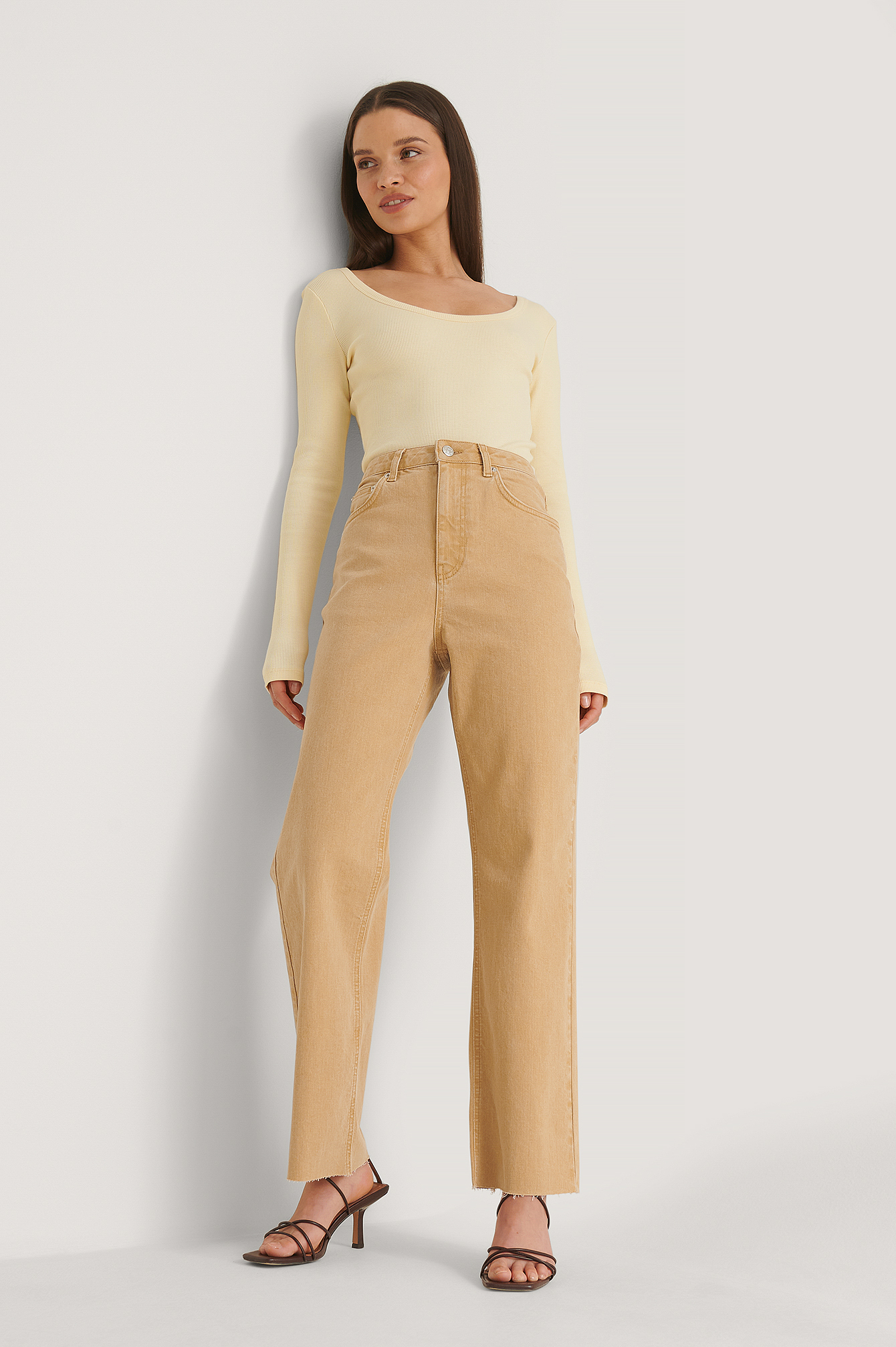 Cantaloupe Straight High Waist Colored Denim