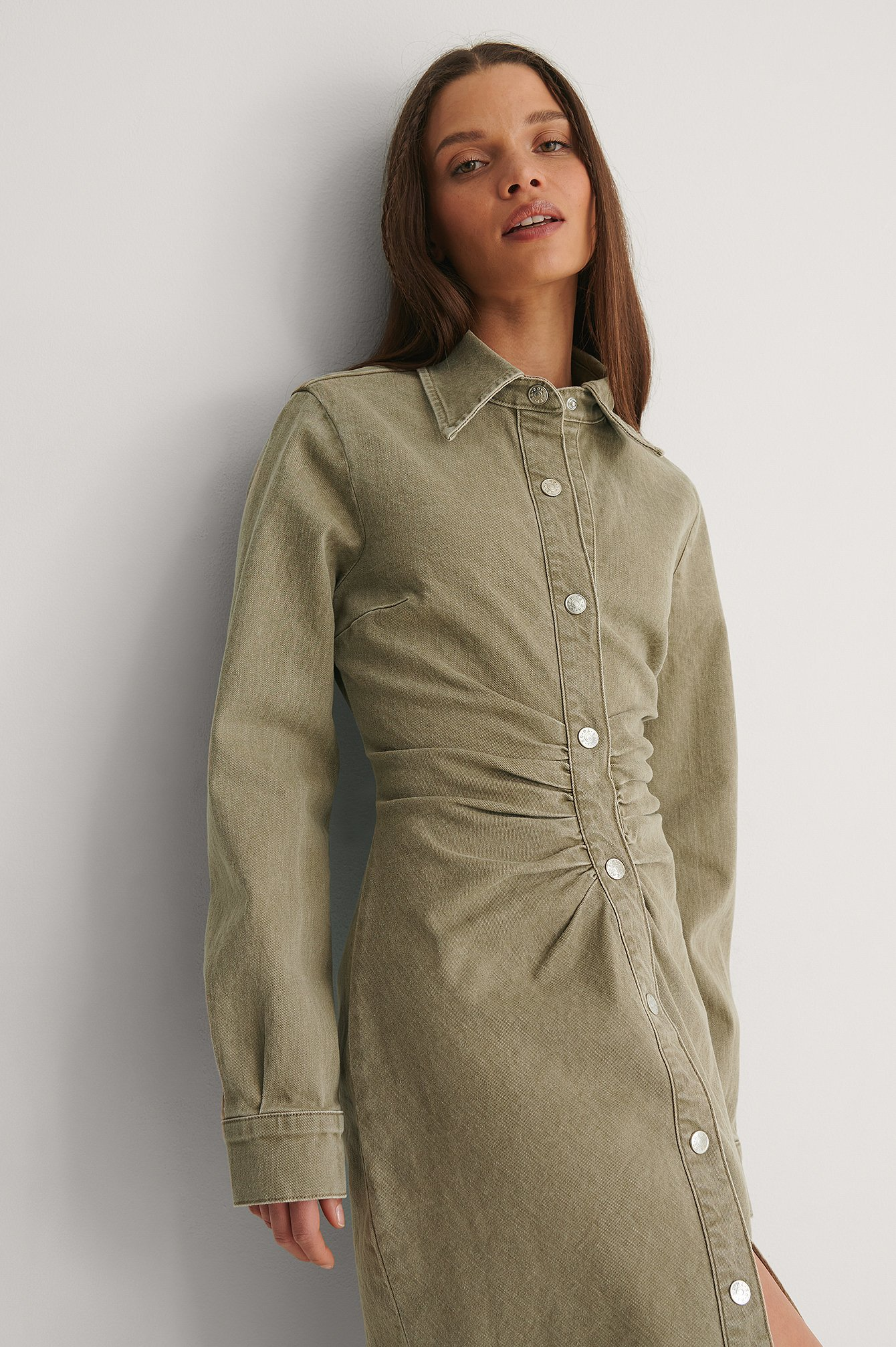 Olive Ruched Colored Denim Midi Dress