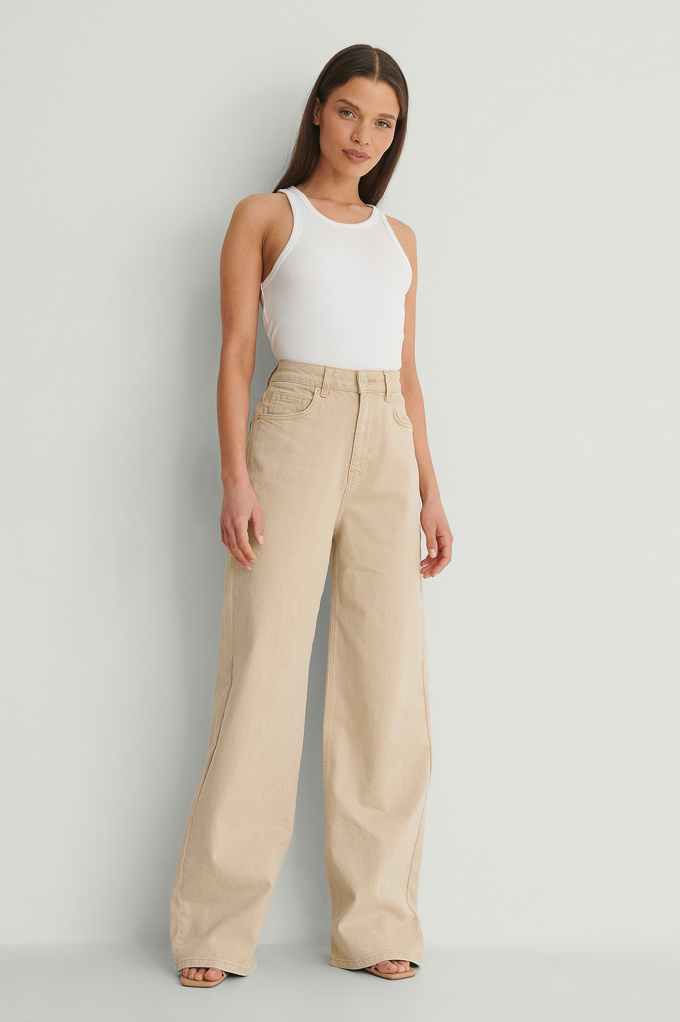 Oat Wide Leg High Waist Colored Denim