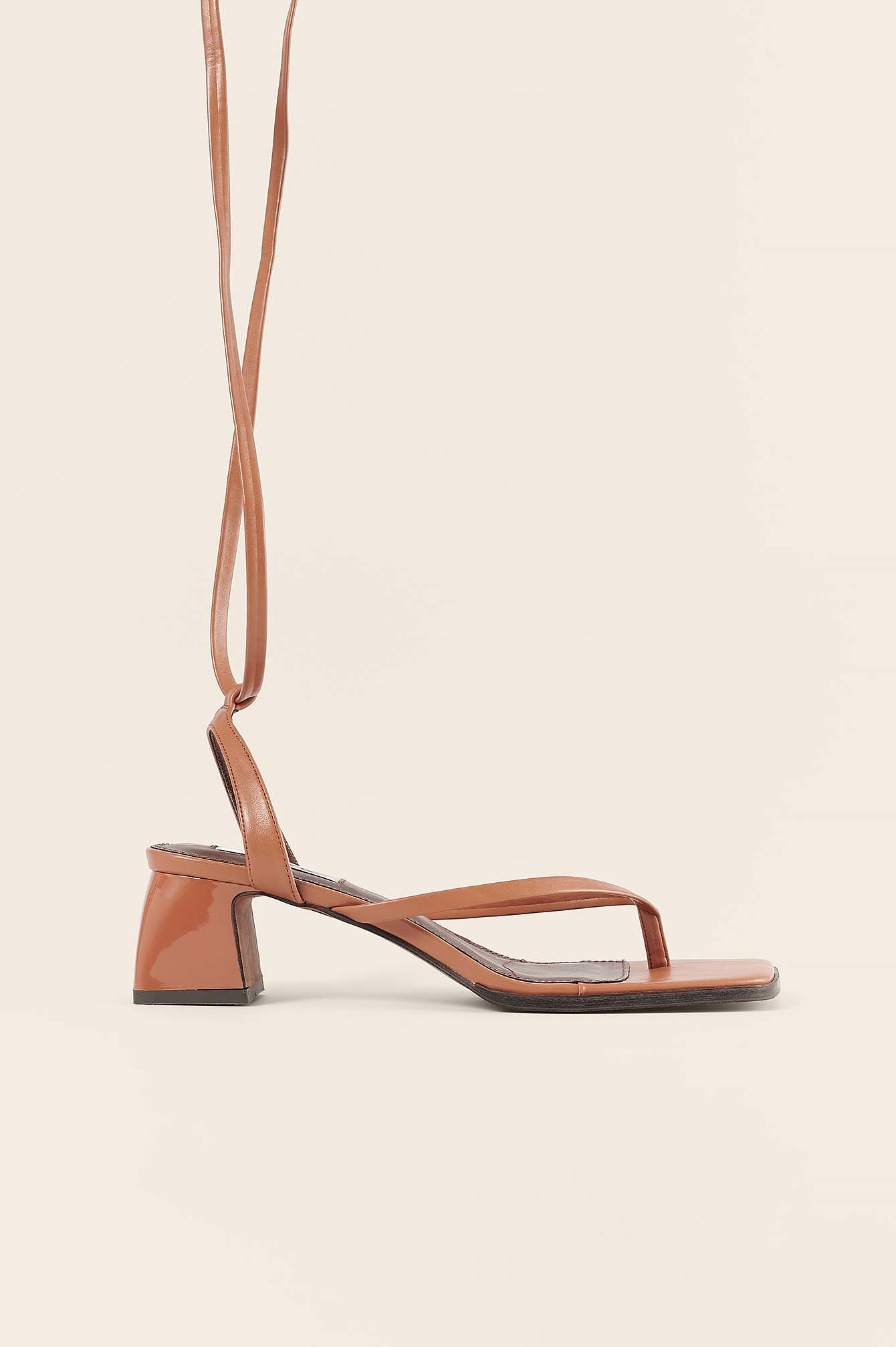 Tan Lace Up Toe Strap Sandals