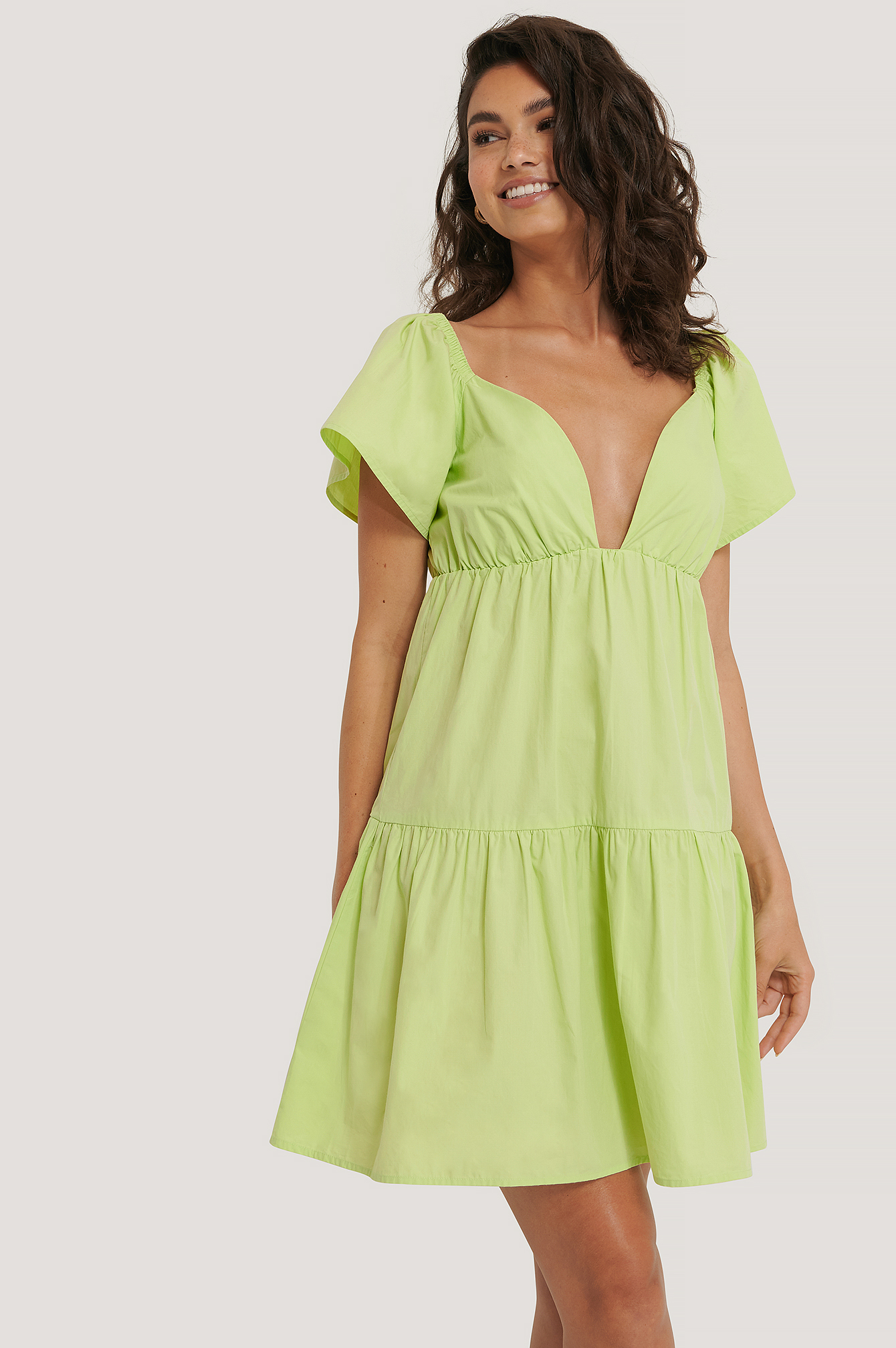 Green Flounce Shoulder Mini Dress
