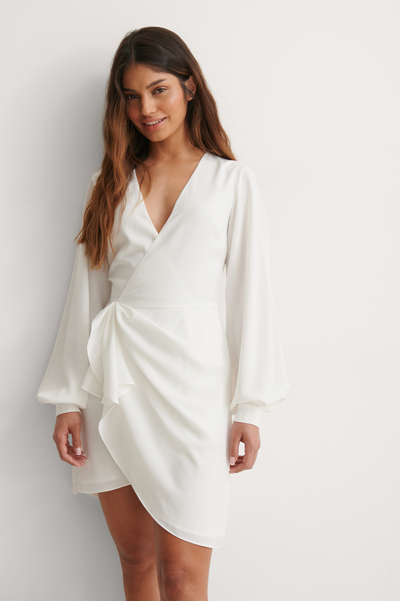 White Gathered Overlap Dress