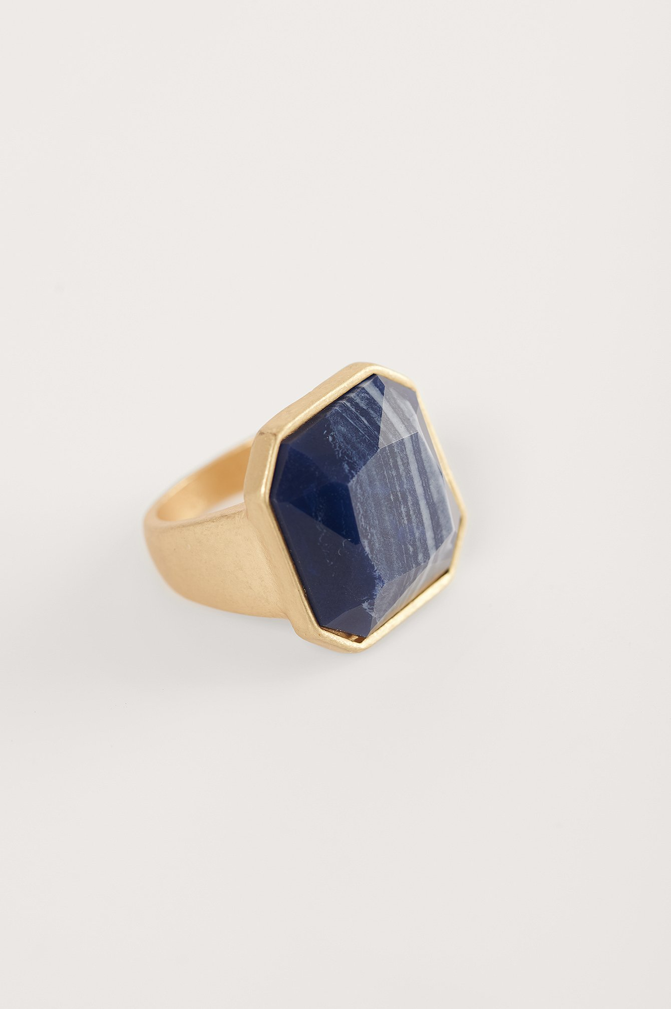 Gold/Blue Big Stone Signet Ring