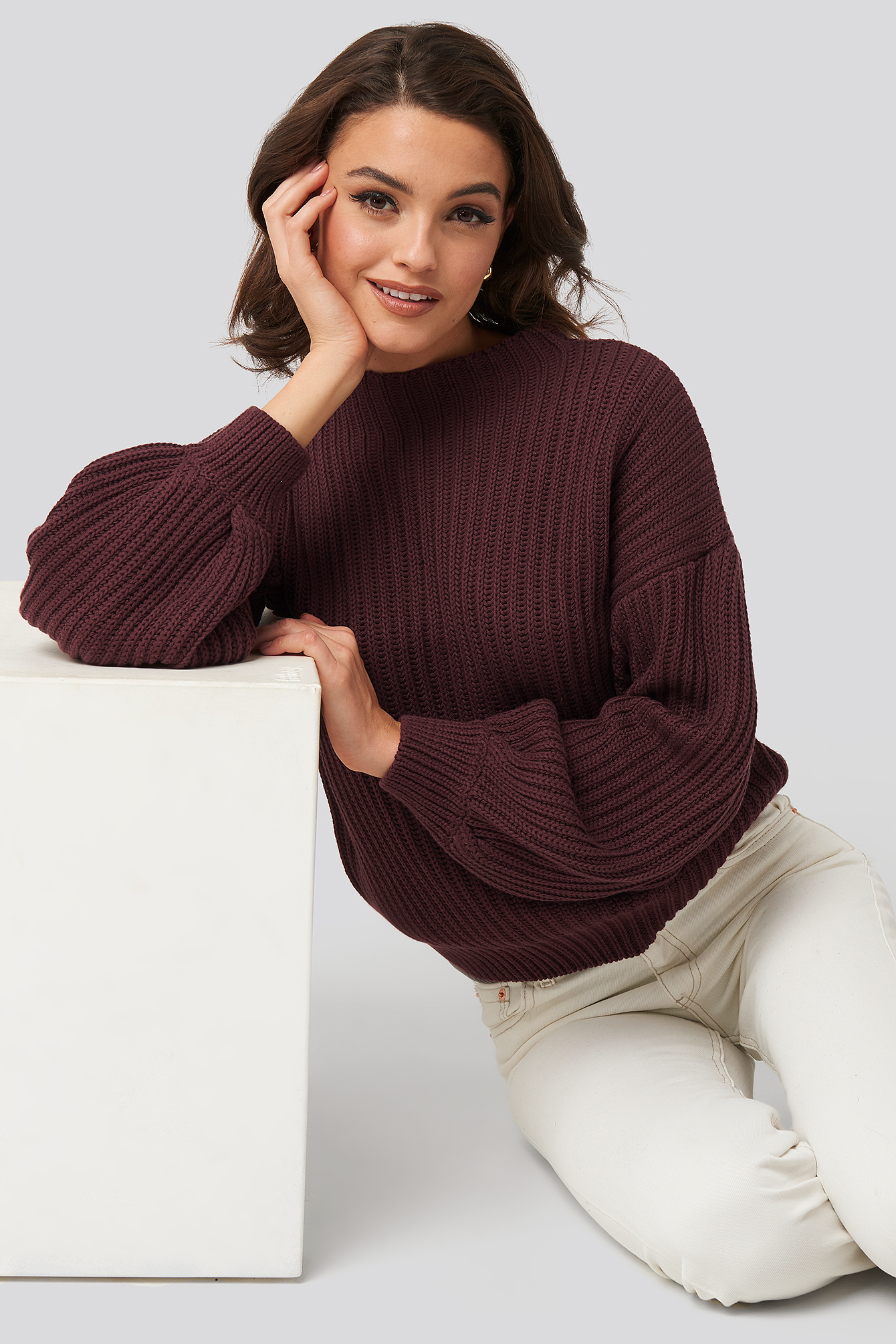 Burgundy Balloon Sleeve Knitted Sweater