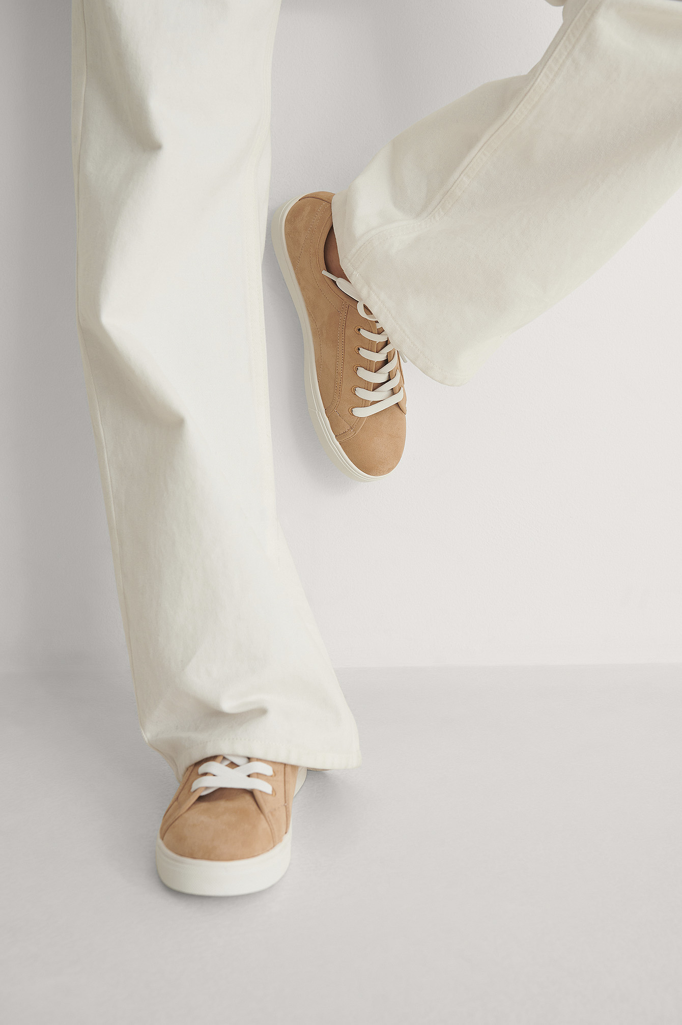 Light Beige Basic Lace up Sneakers