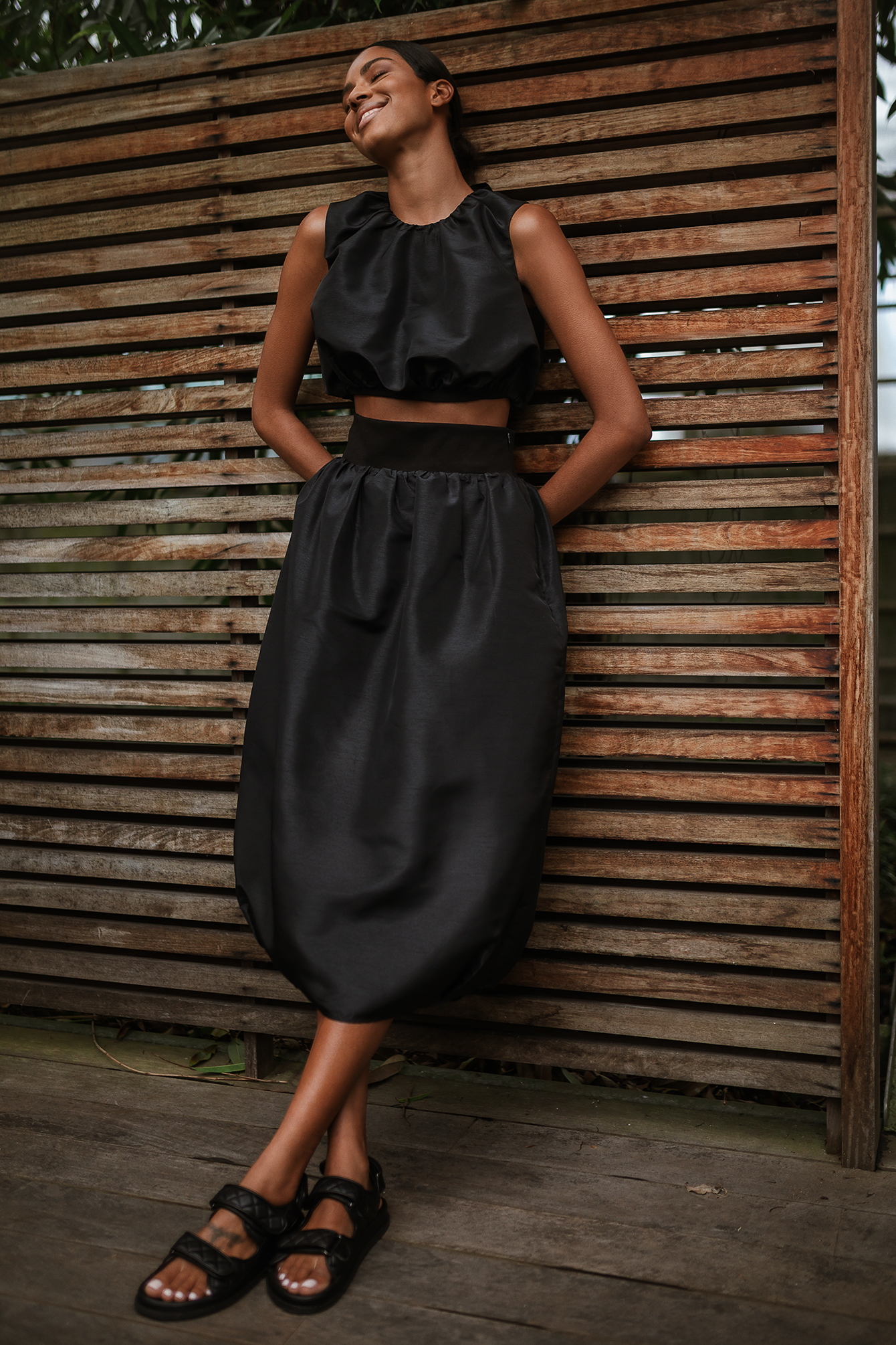 Black Cocoon Shape Maxi Skirt