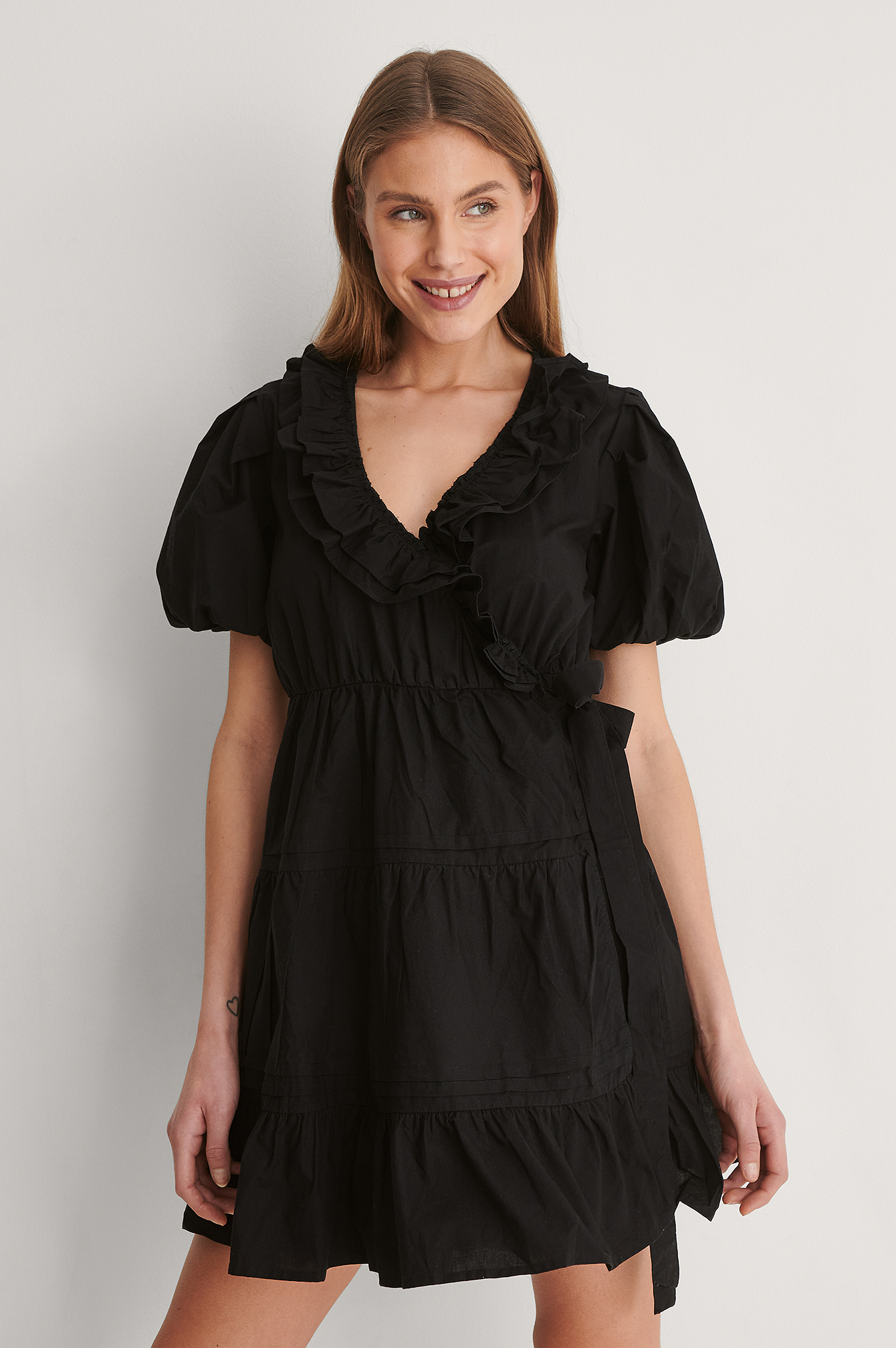 Black Cotton Frill Dress