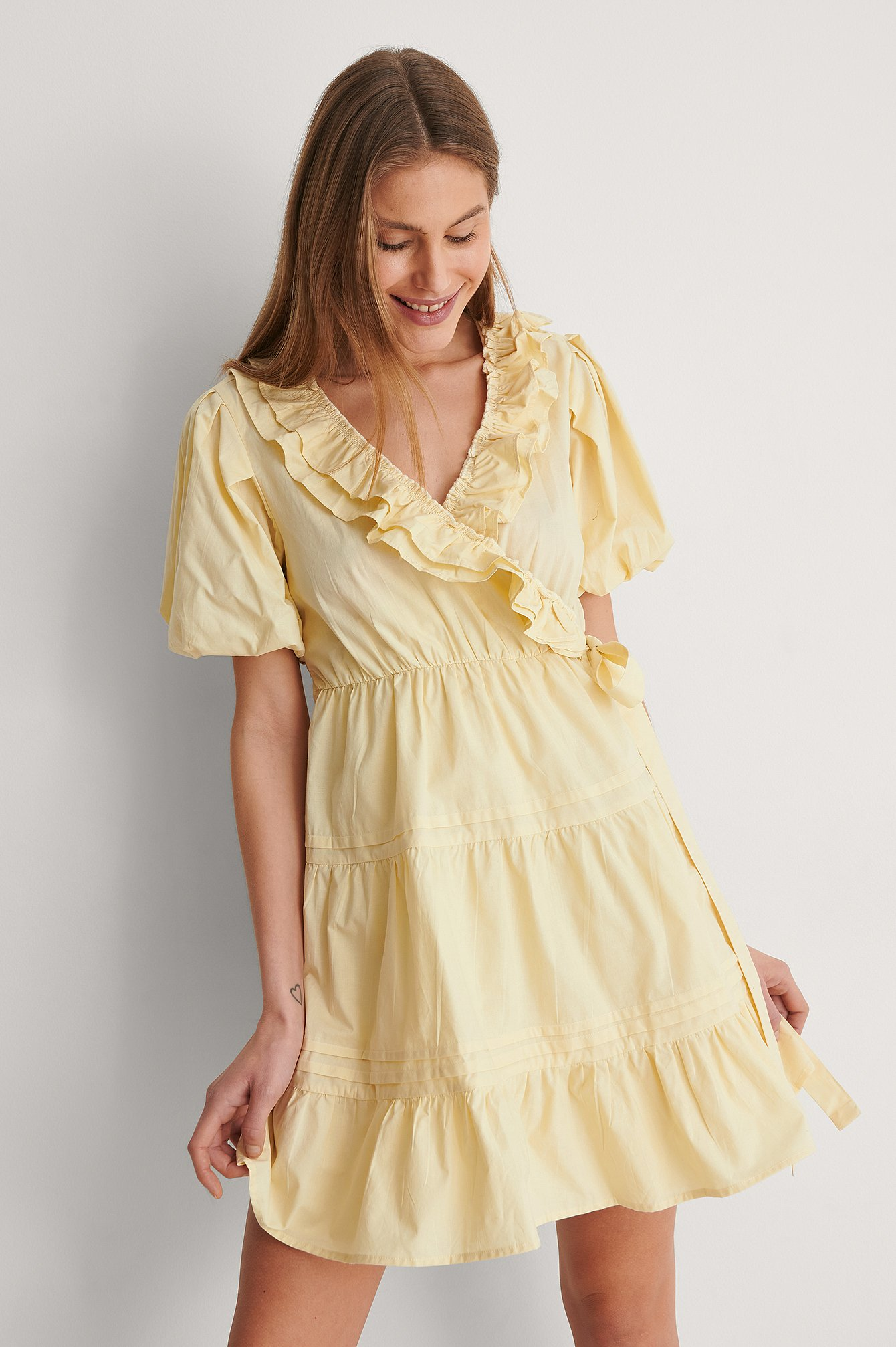 Light Yellow Cotton Frill Dress