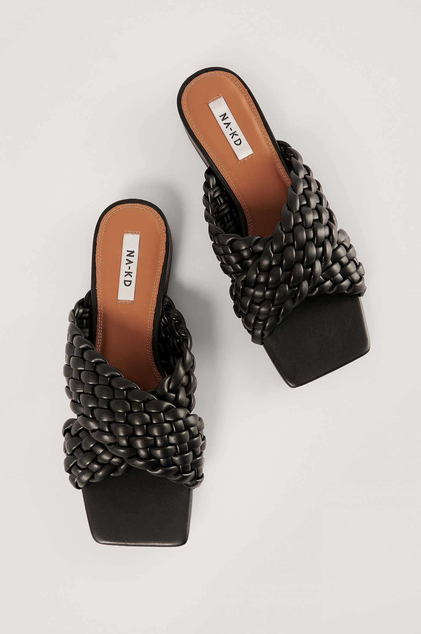 Black Crossed Braided Flats