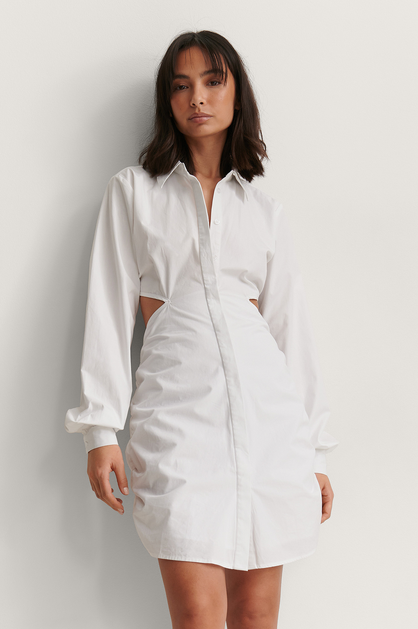 White Cut Out Hidden Placket Shirt Dress
