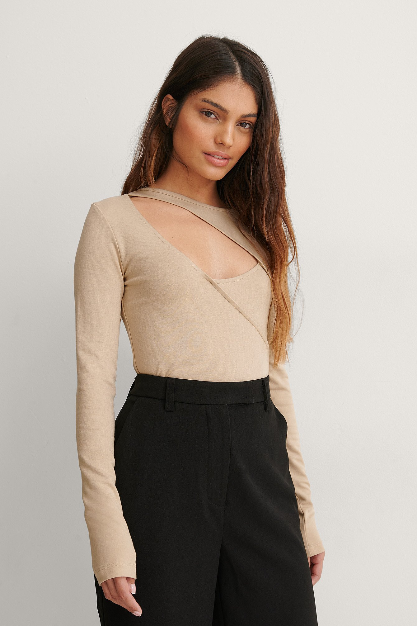 Taupe Beige Cut Out Top