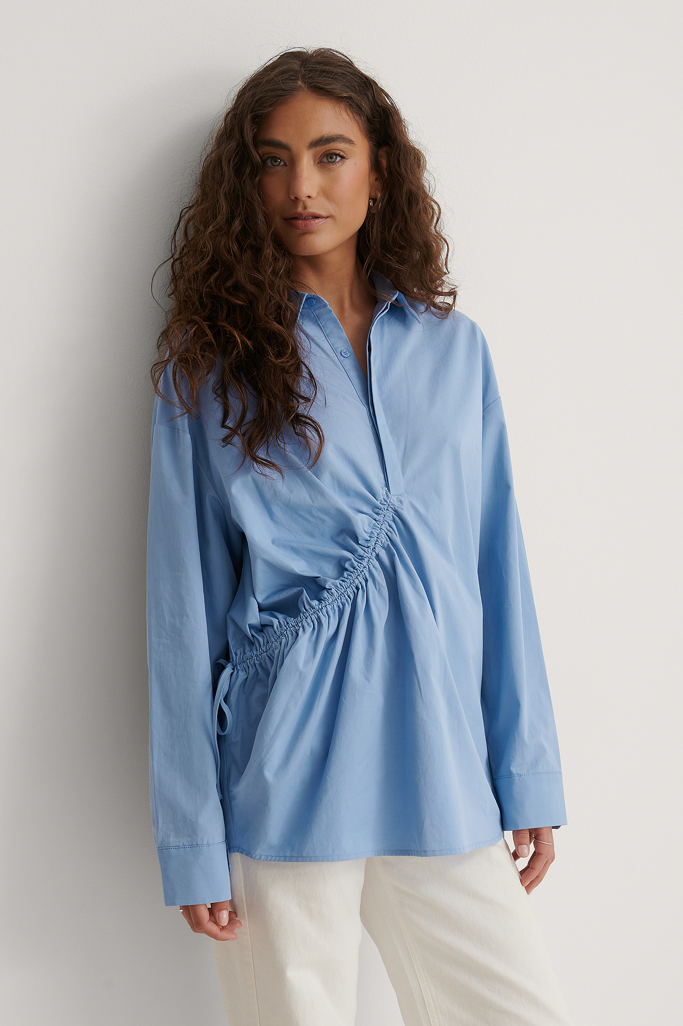 Blue Drawstring Detail Shirt