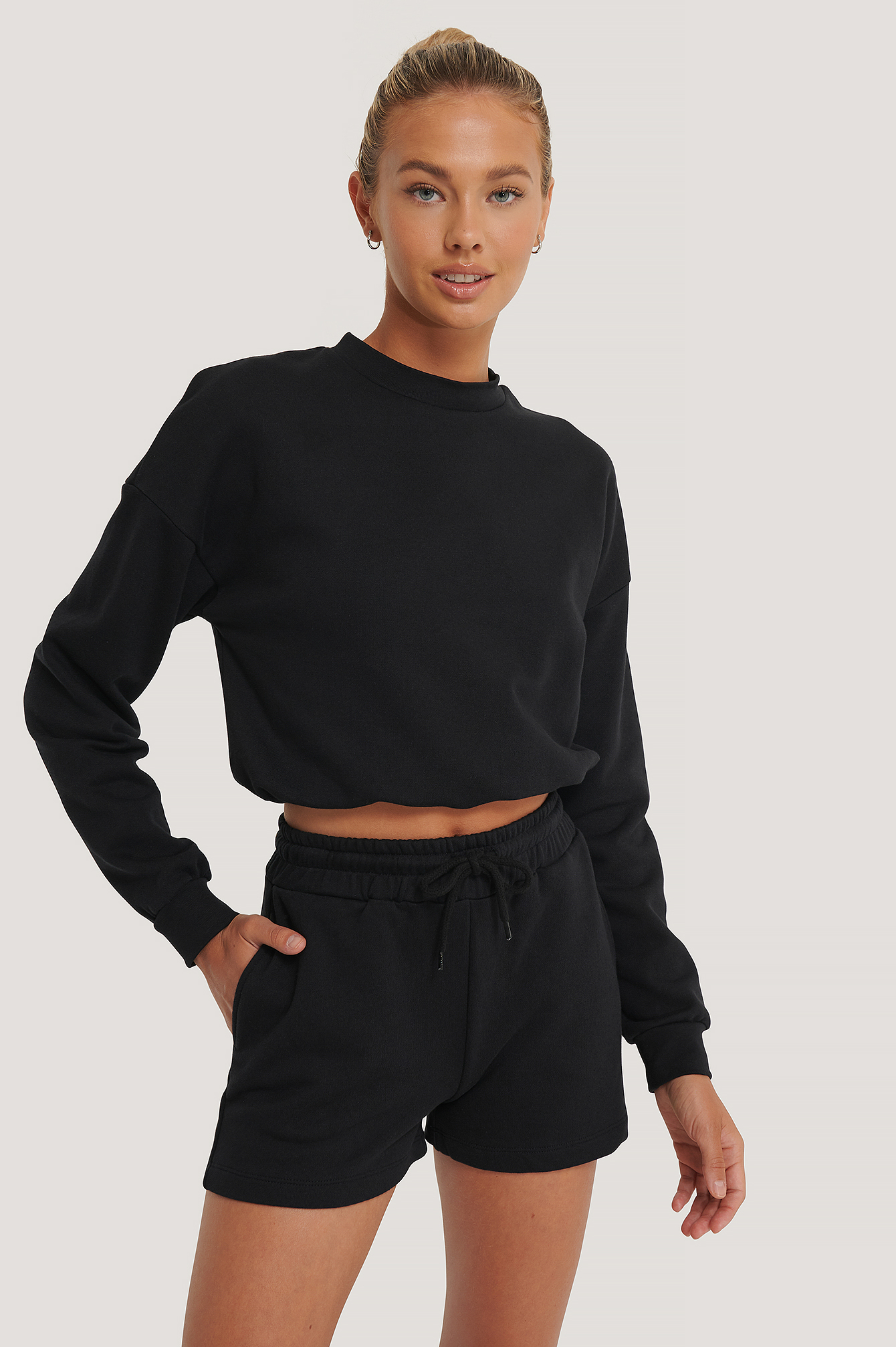 Black Organic Drawstring Sweatshirt Shorts