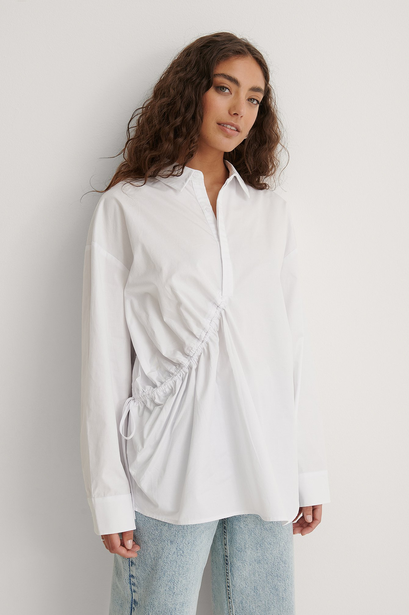 White Drawstring Detail Shirt