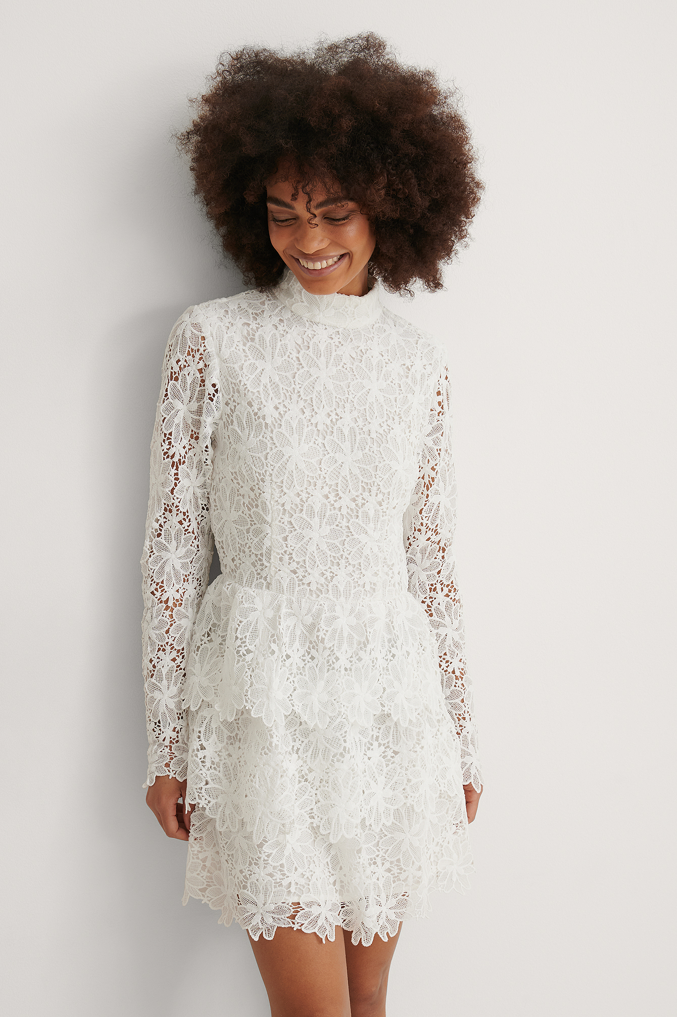 White Embroidered Flounce Dress
