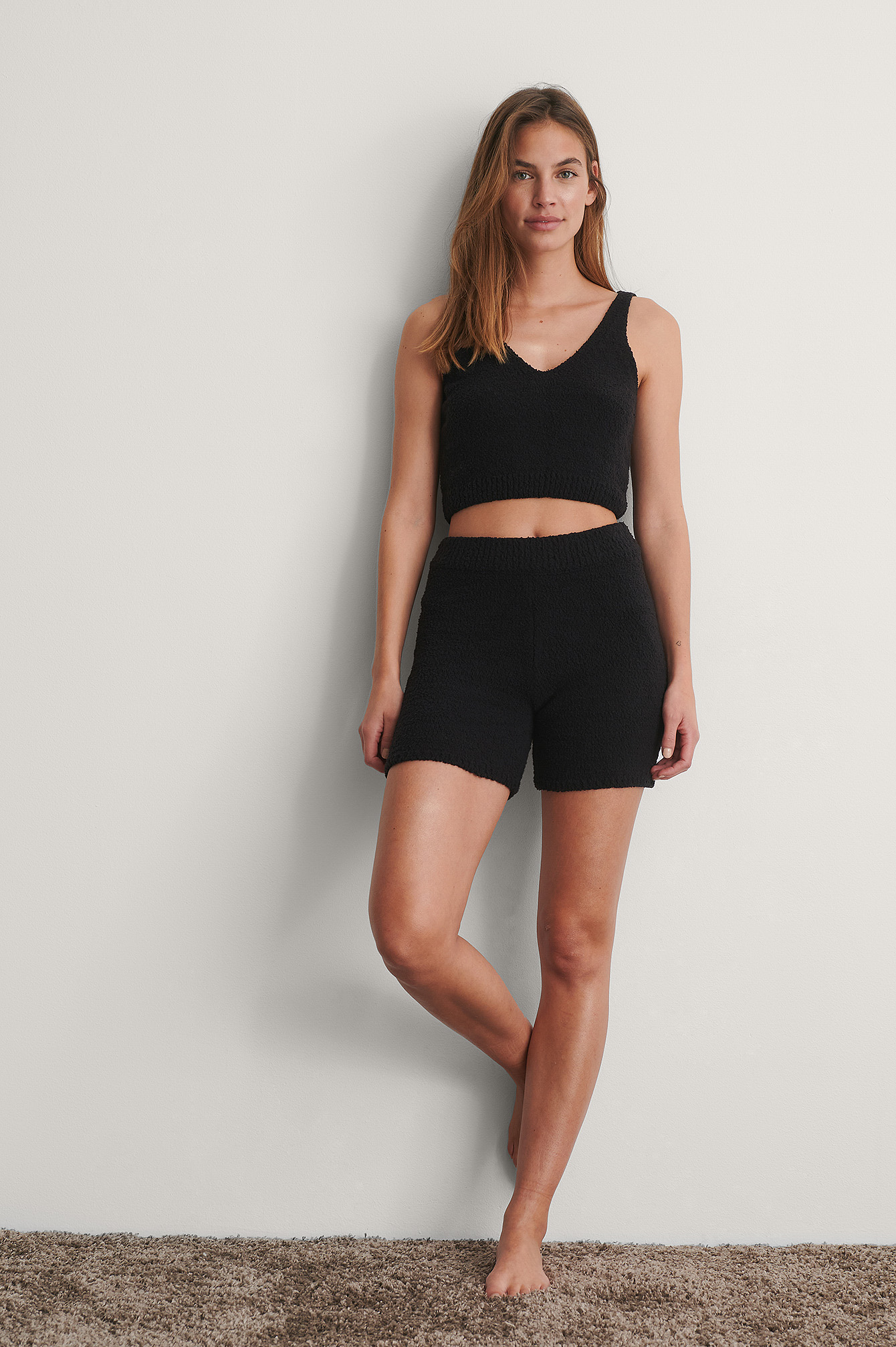 Black Fluffy Mini Shorts