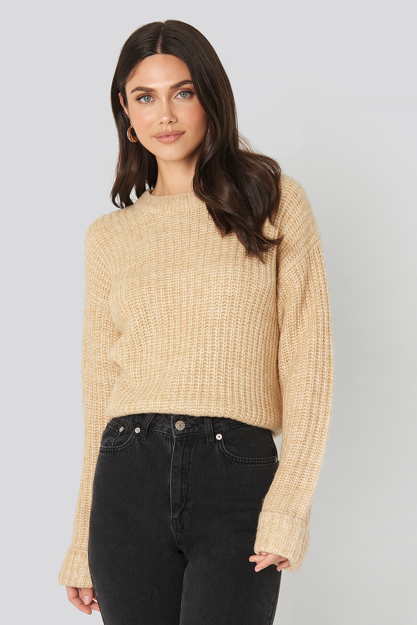 Beige Folded Sleeve Round Neck Knitted Sweater