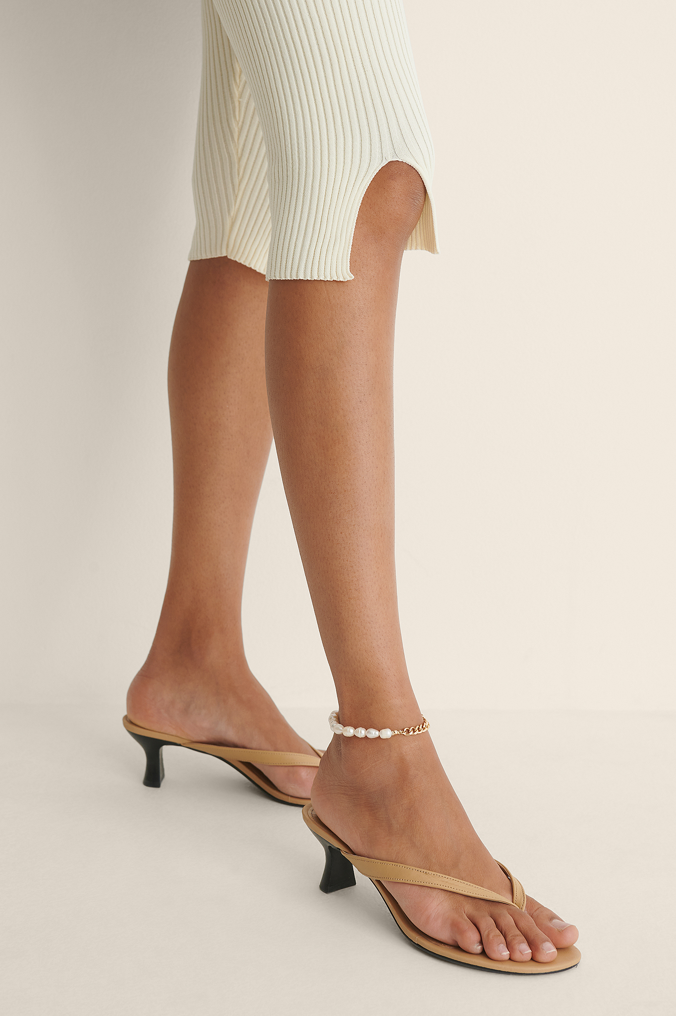 White/Gold Freshwater Pearl Anklet