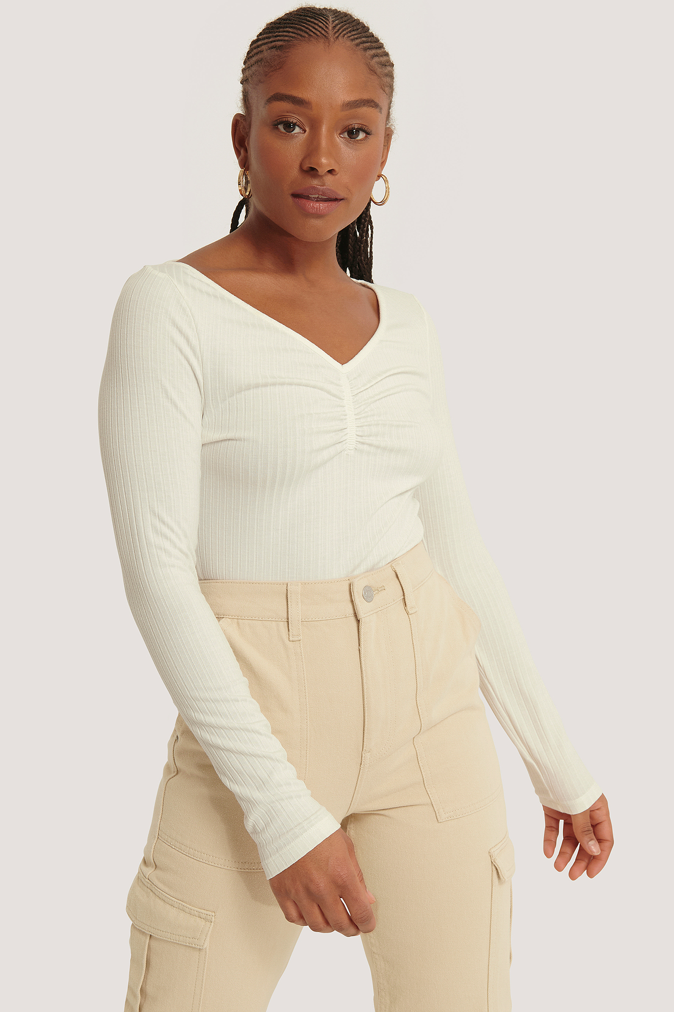 Offwhite Front Ruched Ribbed Top