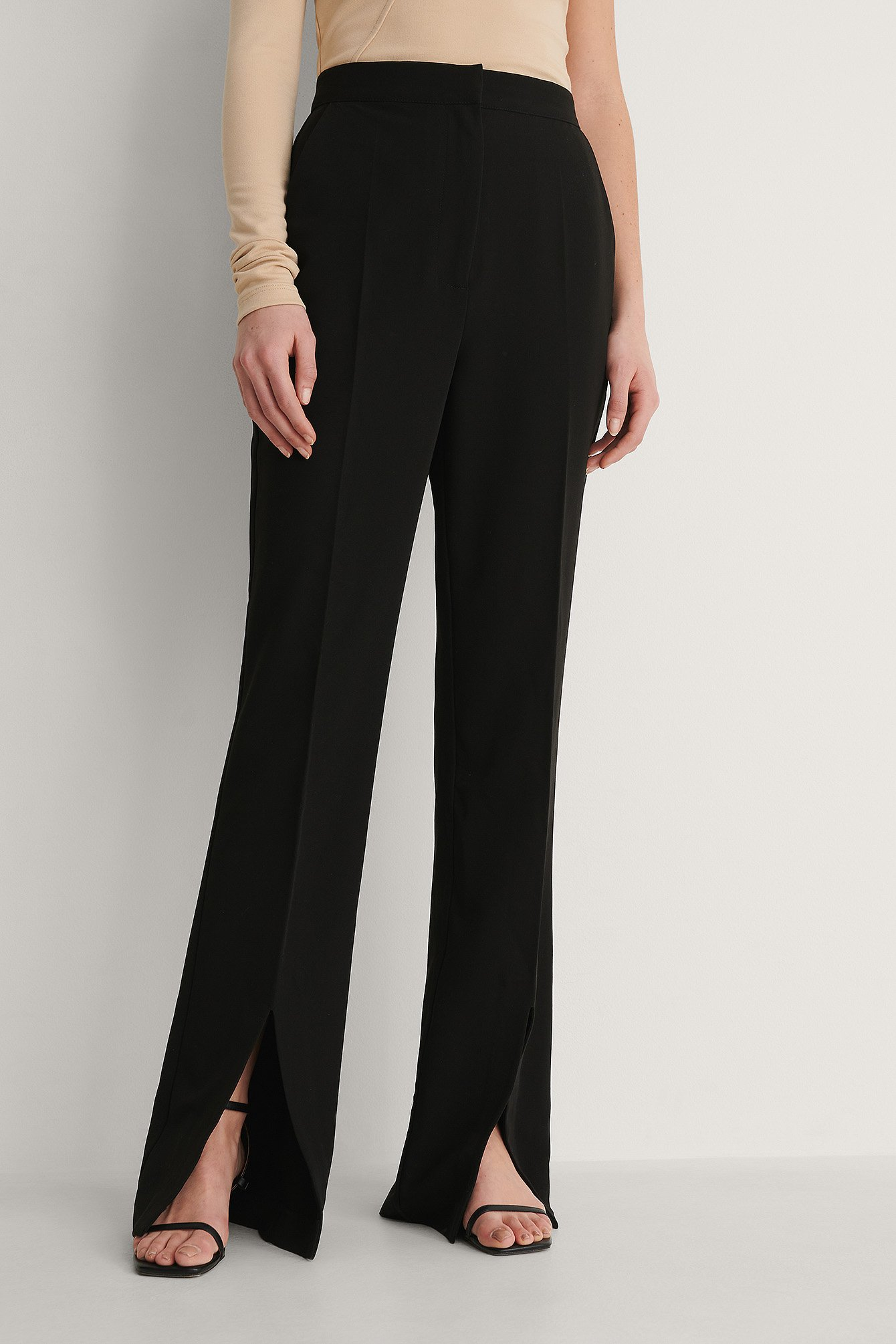 Black Front Slit Trousers
