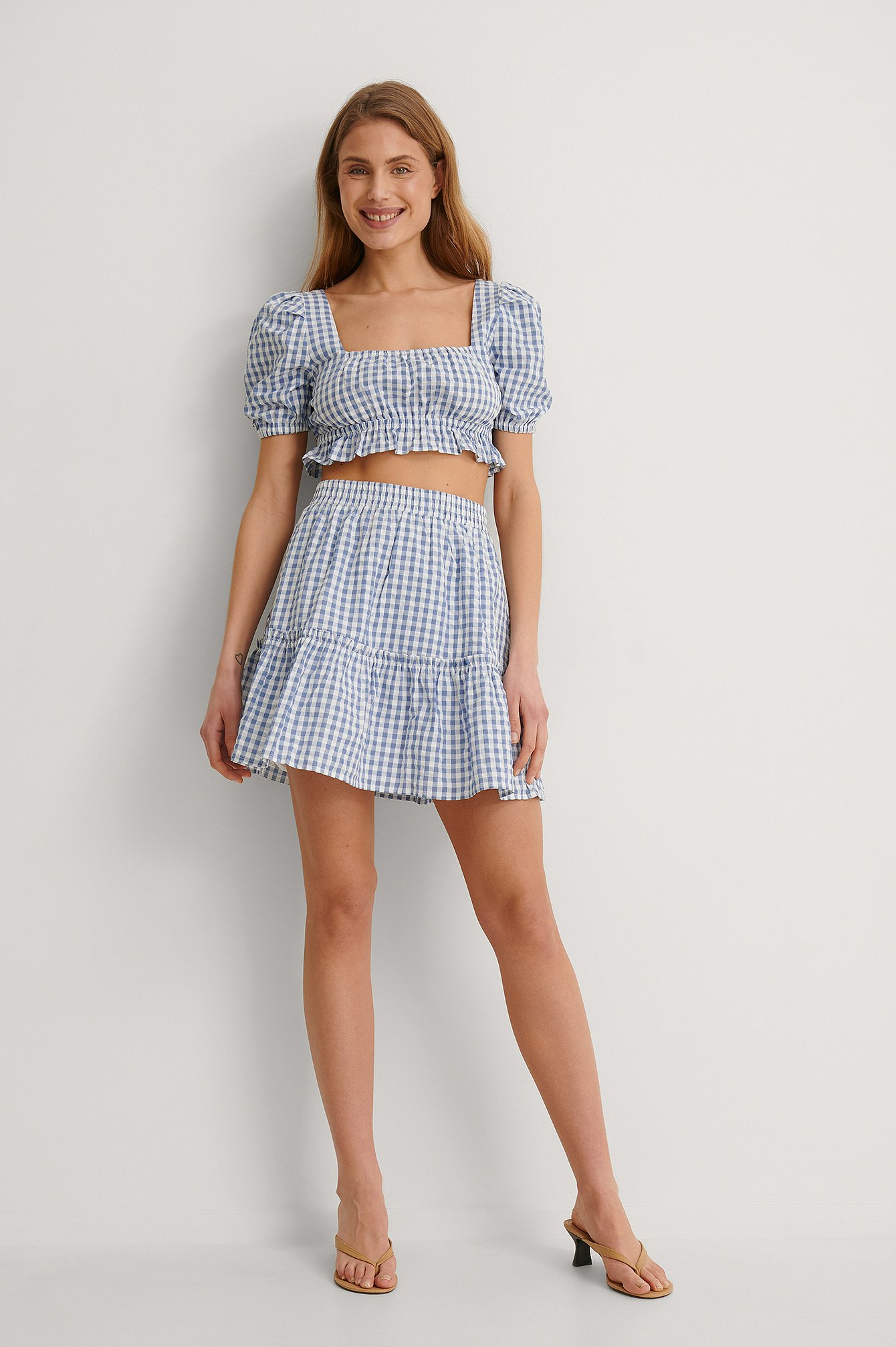 Blue/White Organic Gingham Cropped Top