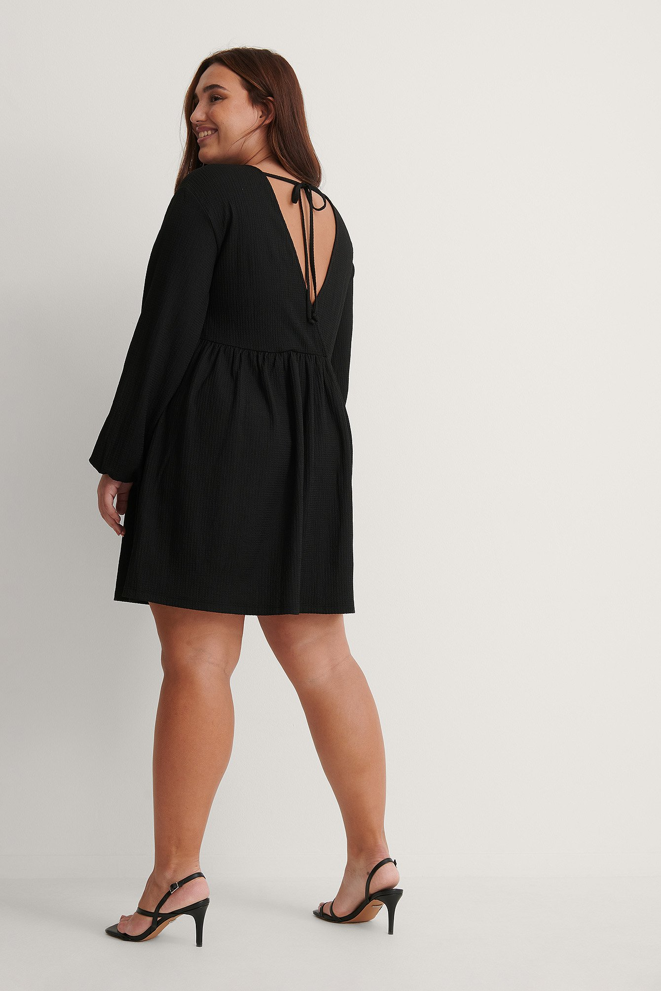 Black Recycled Knot Back Detail Dress
