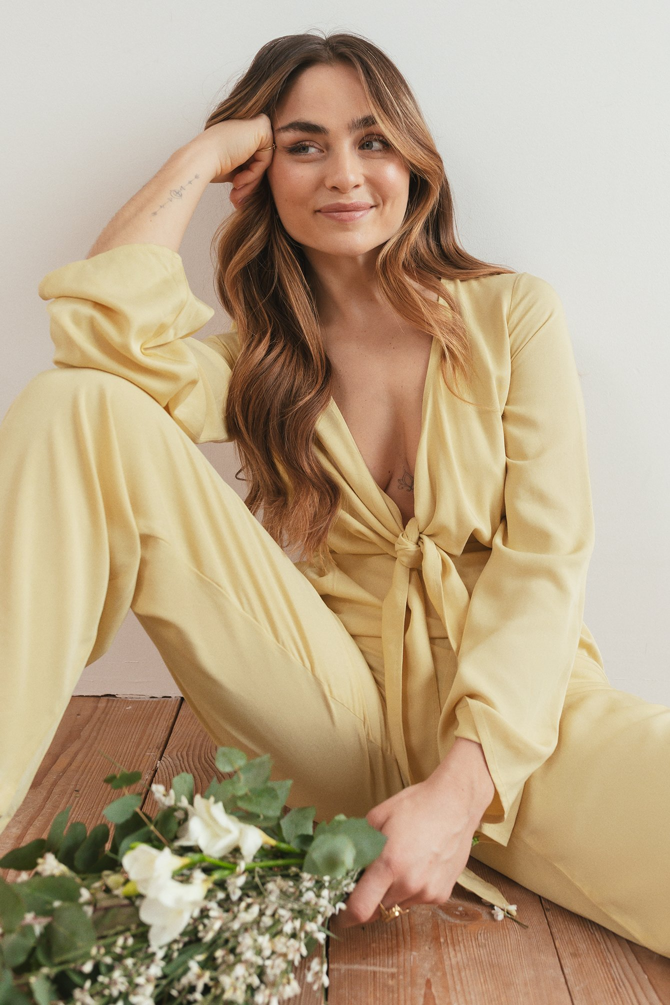 Yellow Knot Front Jumpsuit