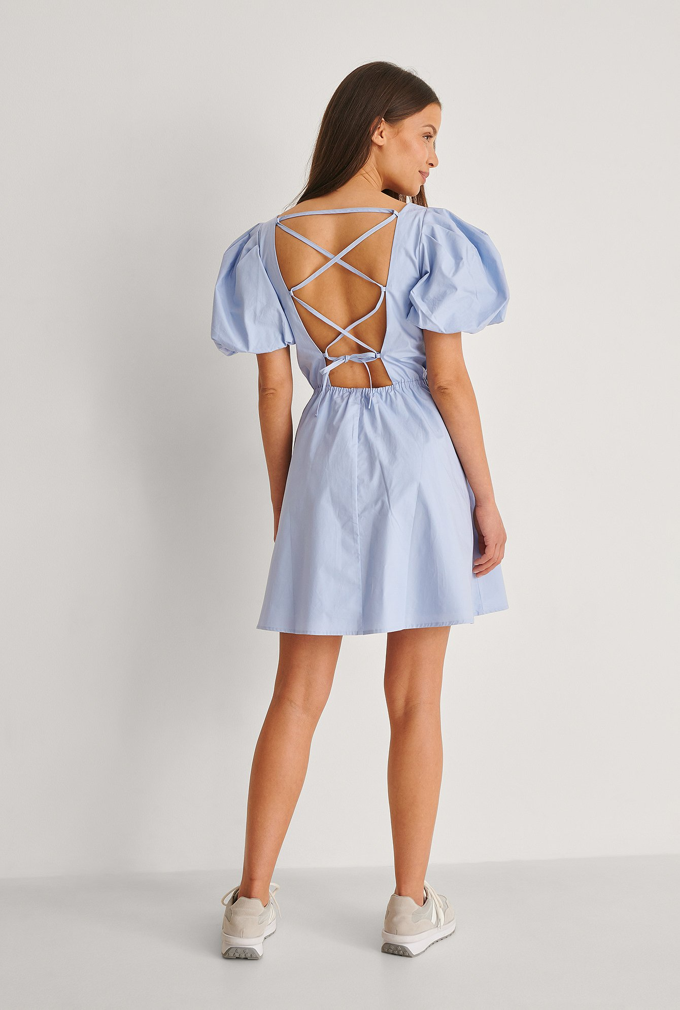 Light Blue Organic Lacing Back Cotton Dress