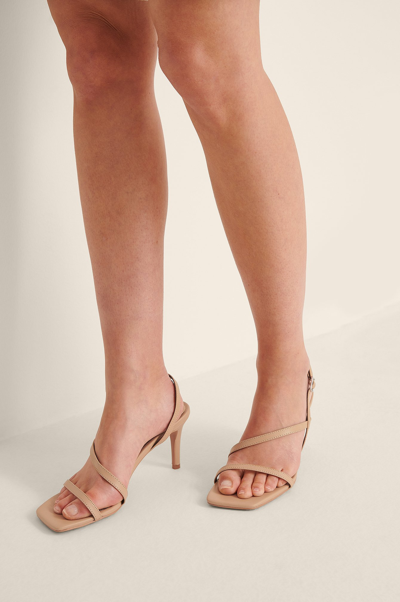 Beige Leather Strappy Heels