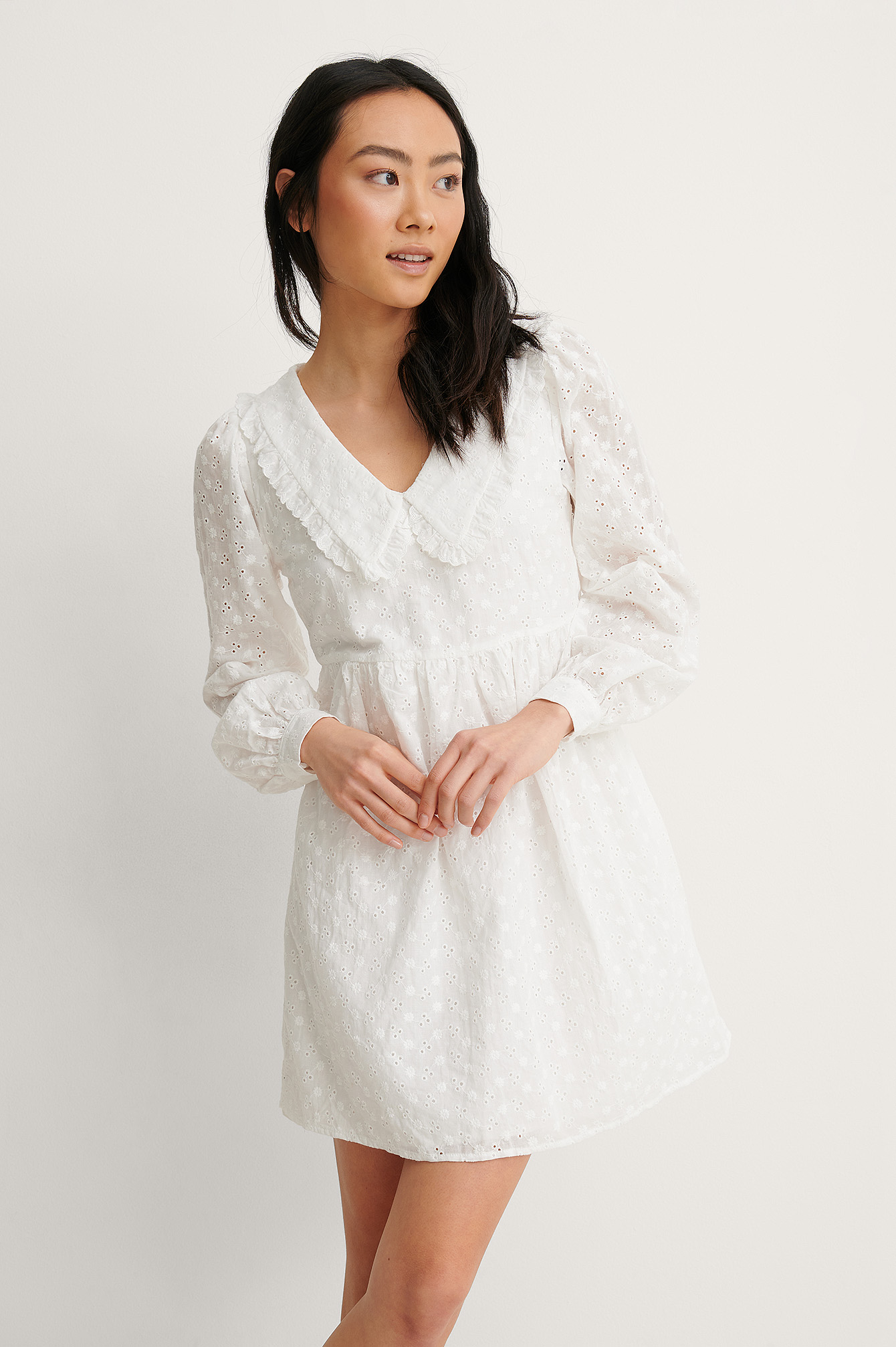 White LS V-Neck Anglaise Dress