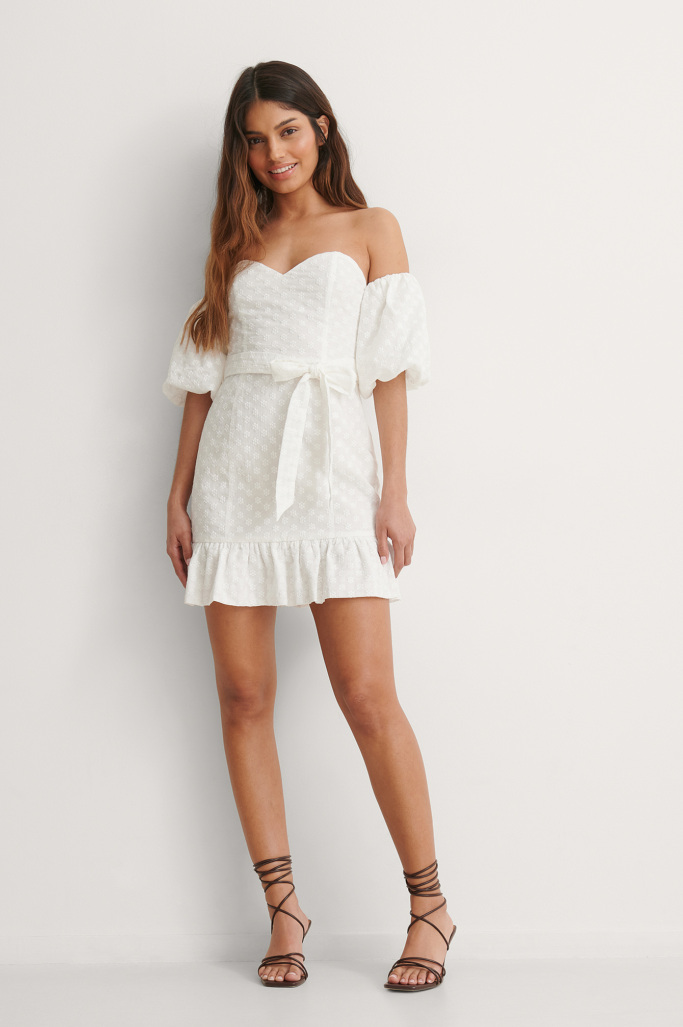 White Off Shoulder Balloon Sleeve Dress