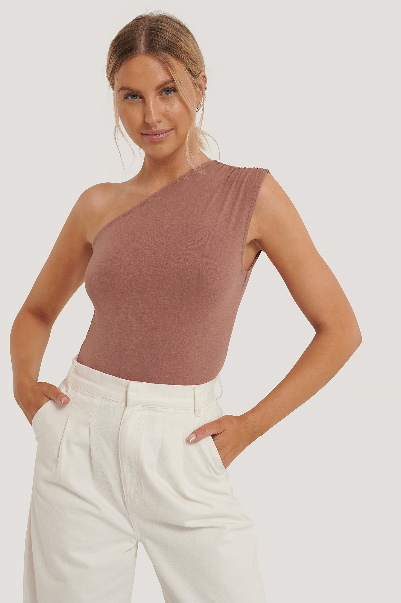 Dusty Pink One Shoulder Sleeveless Body