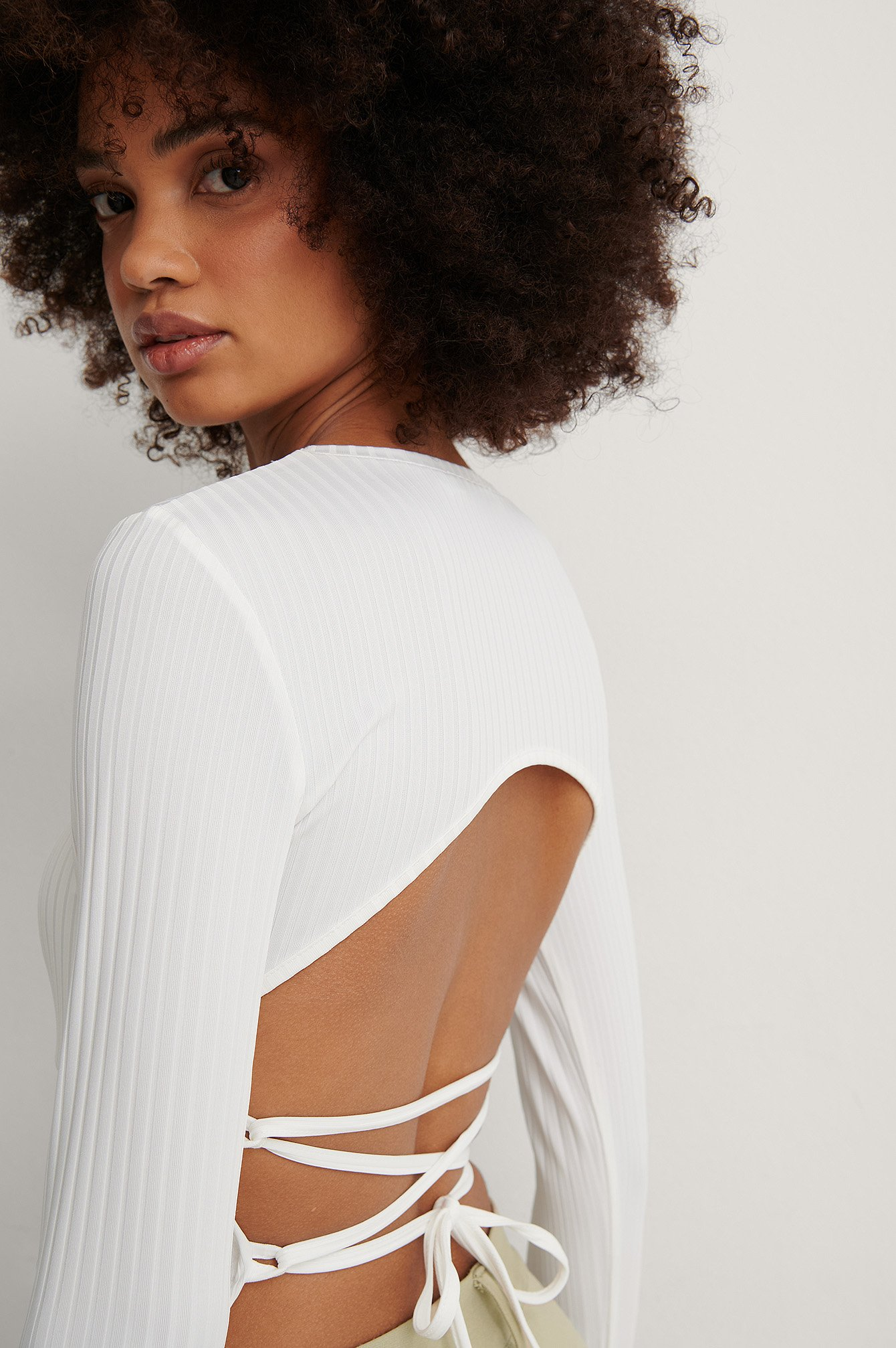 Offwhite Open Back Rib Lace Detail Top