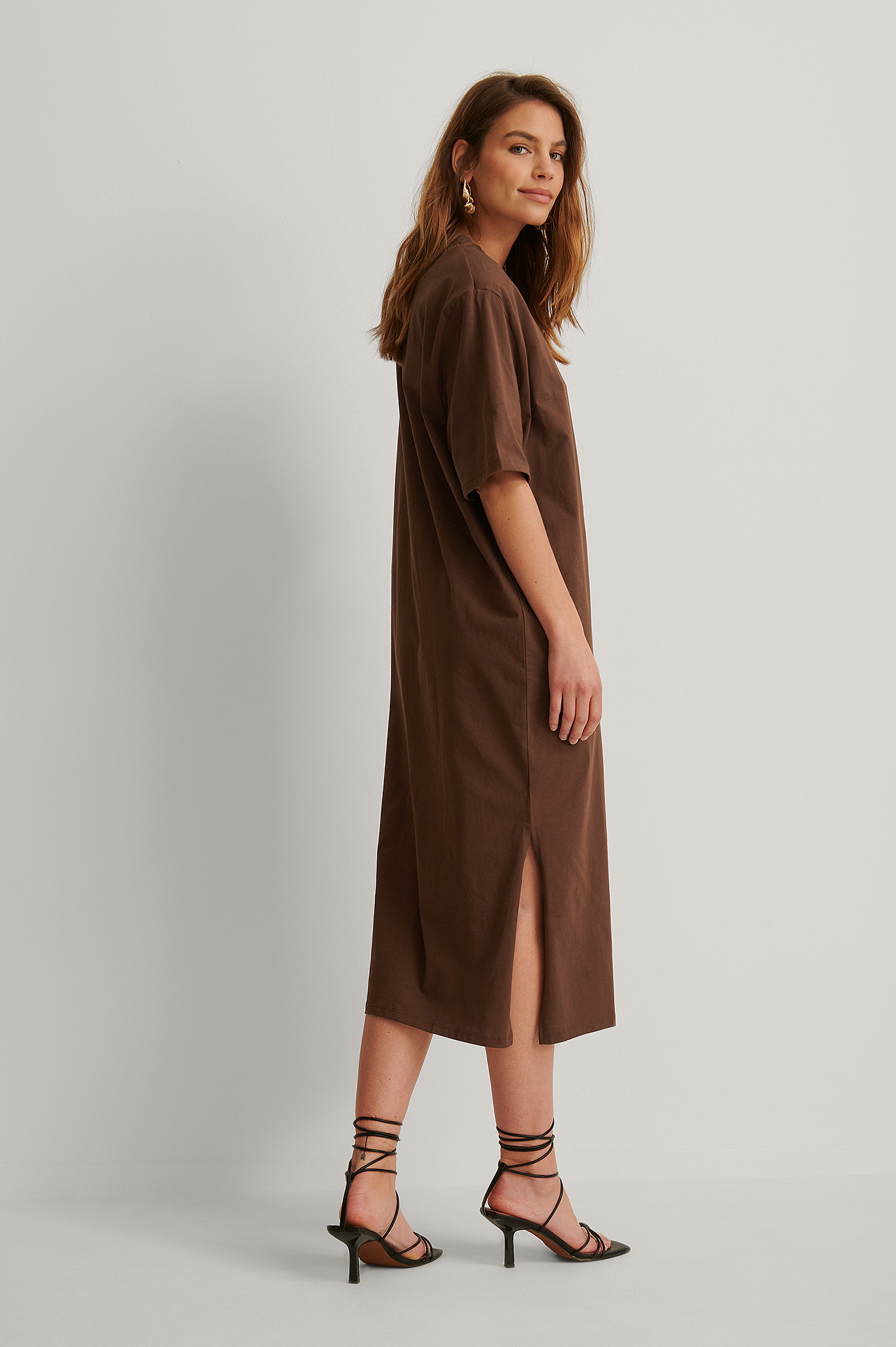 Brown Organic Shoulder Pad Slit Detail Dress