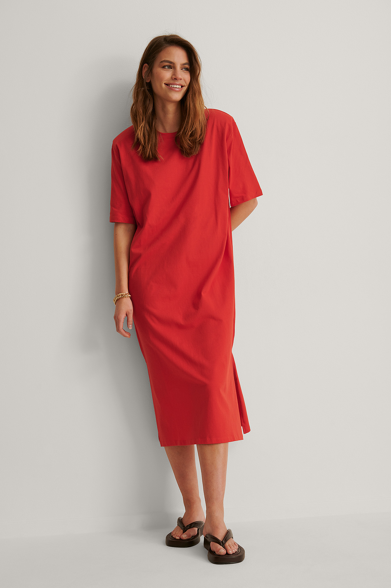 Bright Red Organic Shoulder Pad Slit Detail Dress